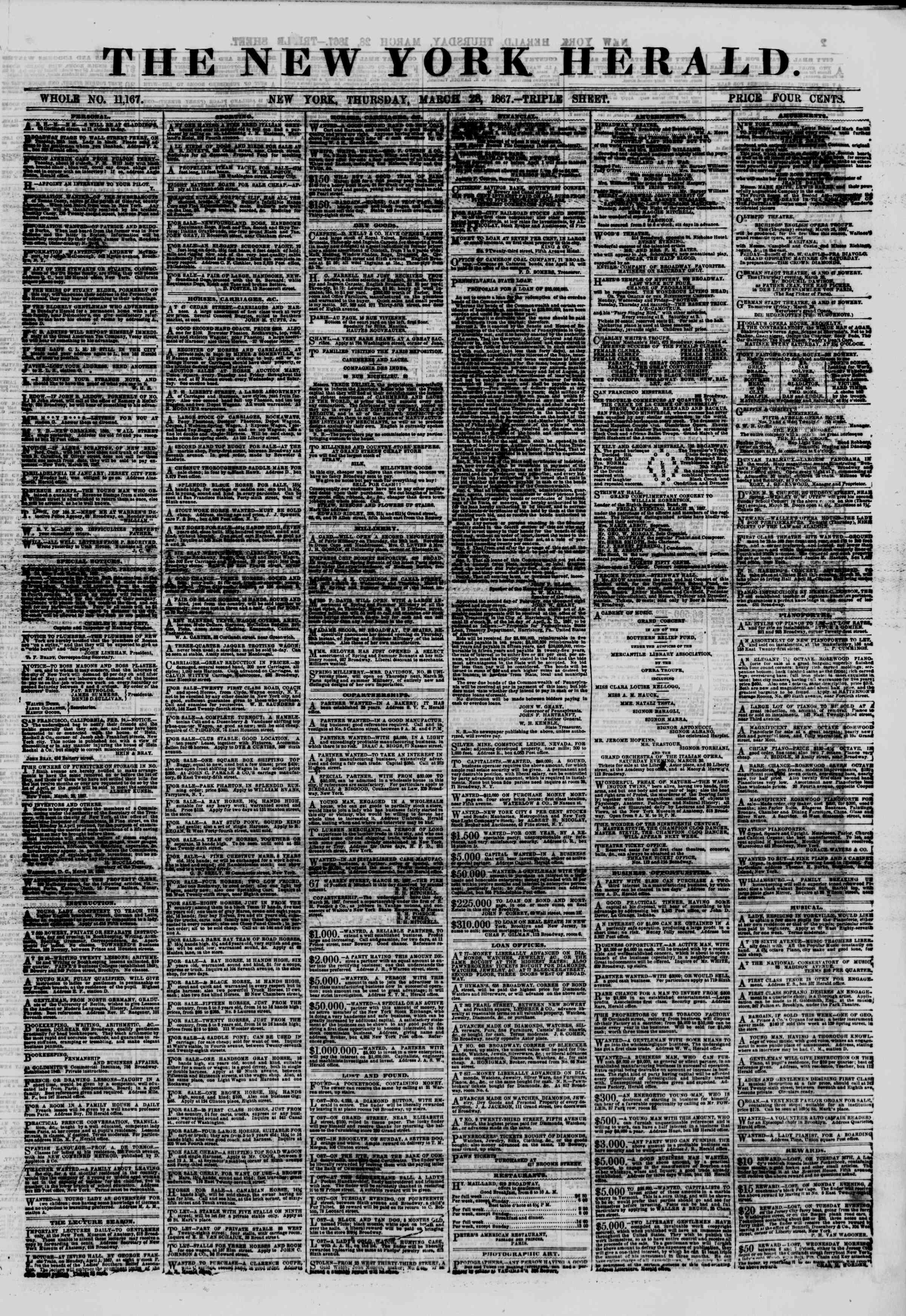 Newspaper of The New York Herald dated March 28, 1867 Page 1