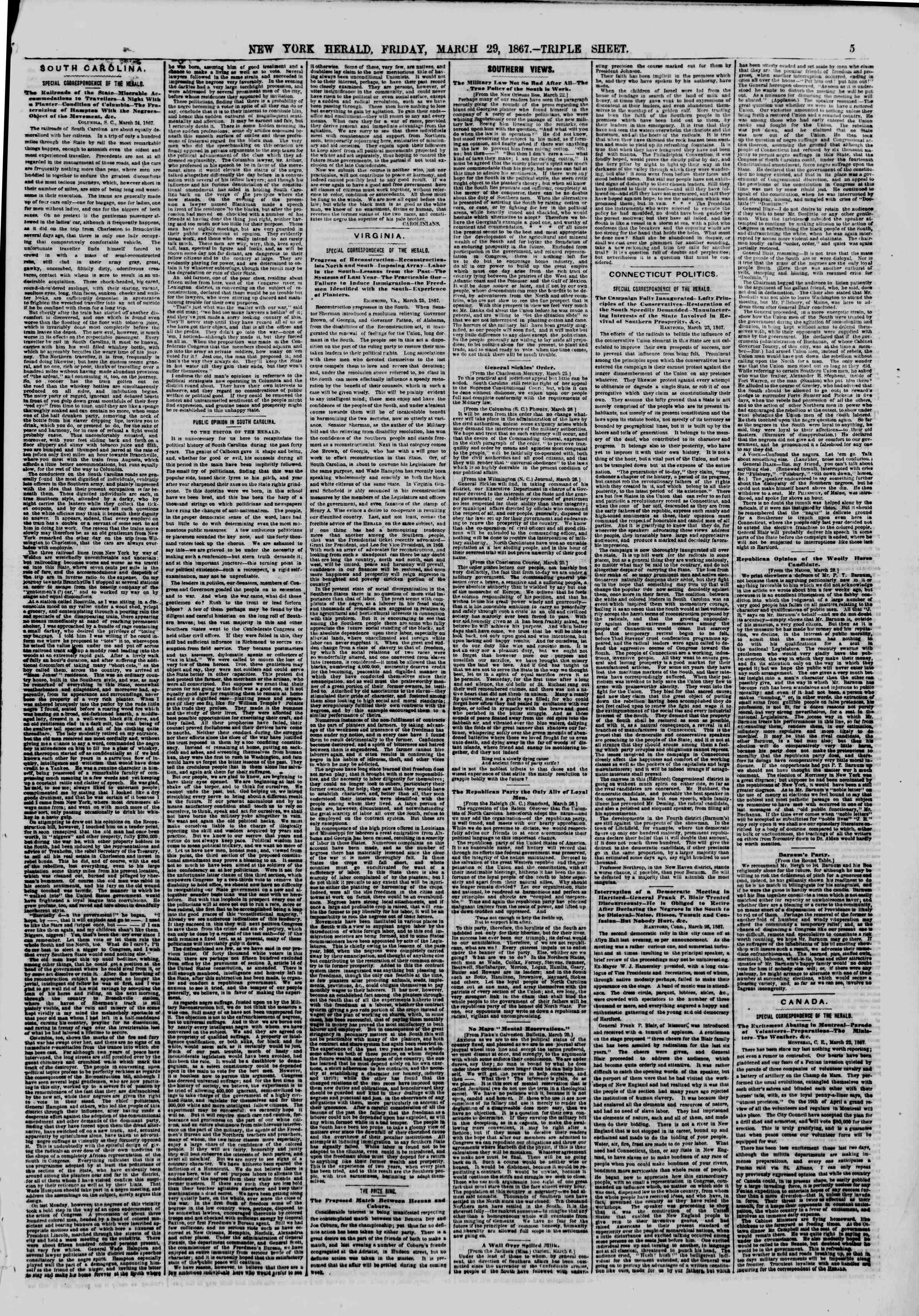 Newspaper of The New York Herald dated March 29, 1867 Page 5