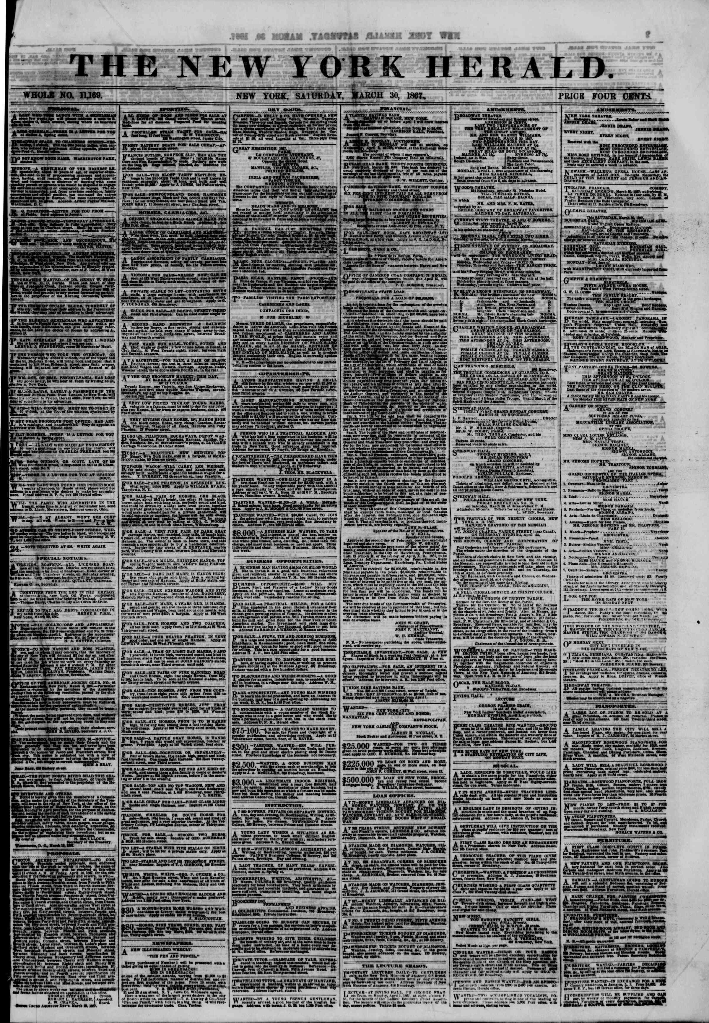 Newspaper of The New York Herald dated March 30, 1867 Page 1