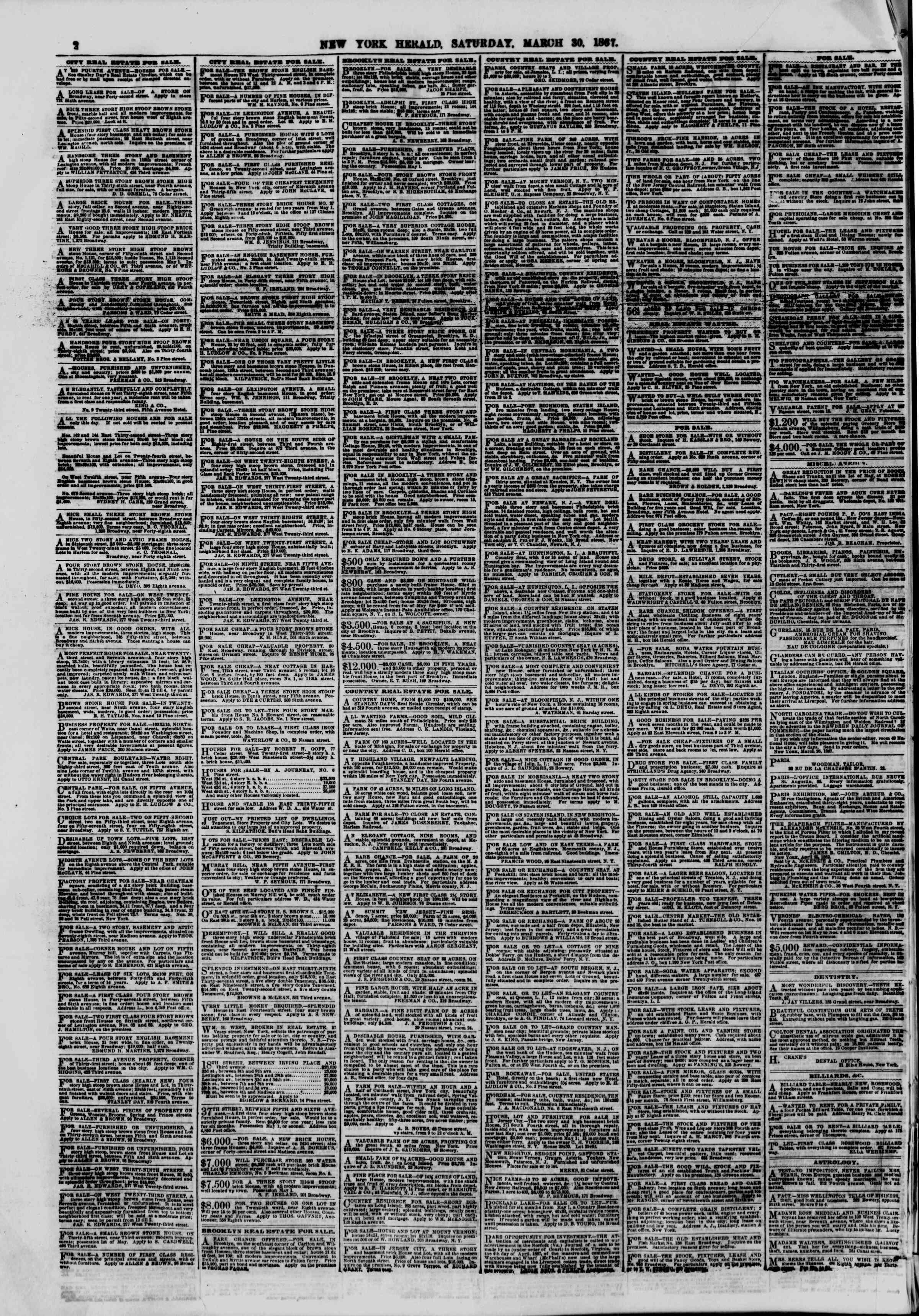 Newspaper of The New York Herald dated March 30, 1867 Page 2