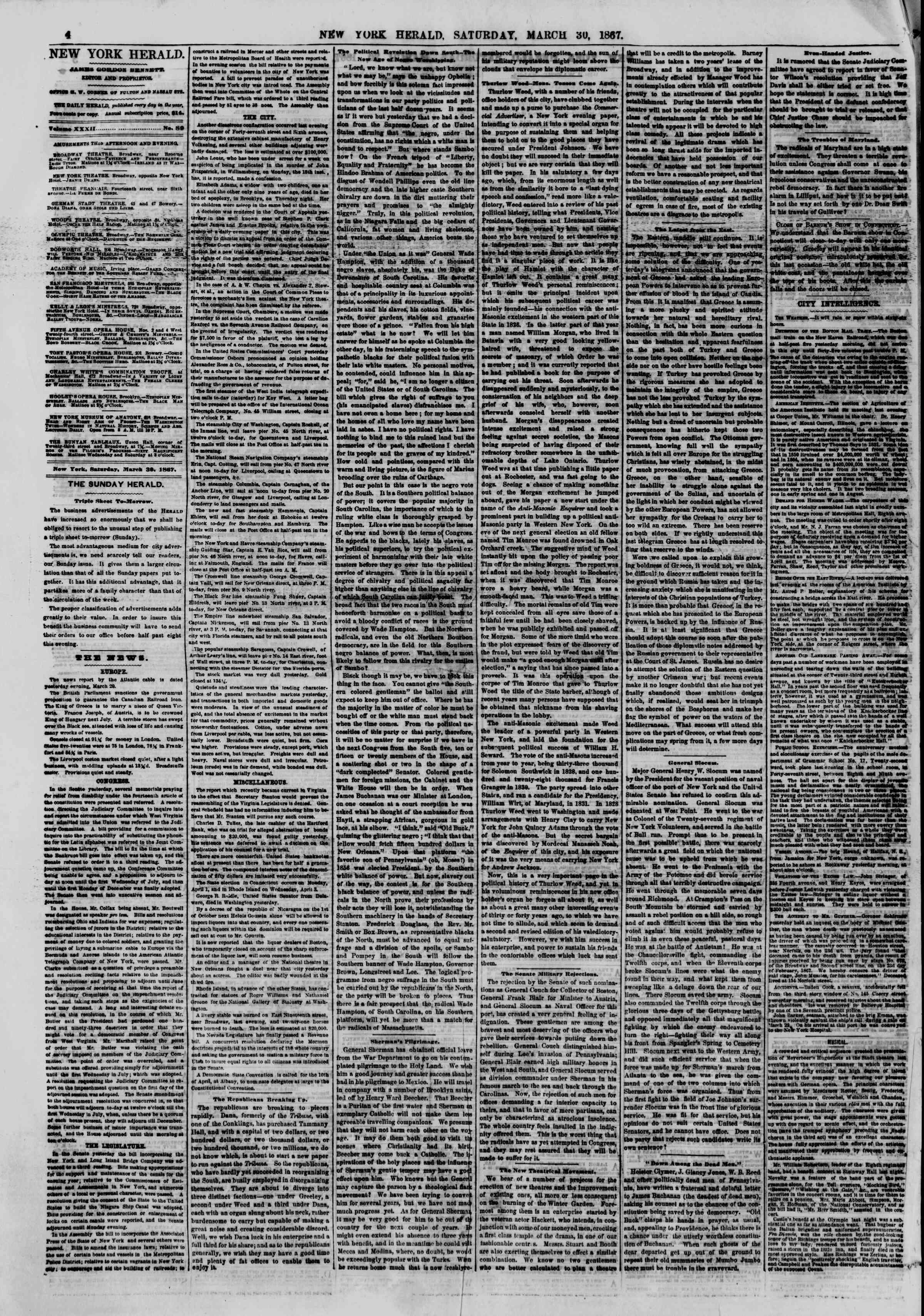 Newspaper of The New York Herald dated March 30, 1867 Page 4