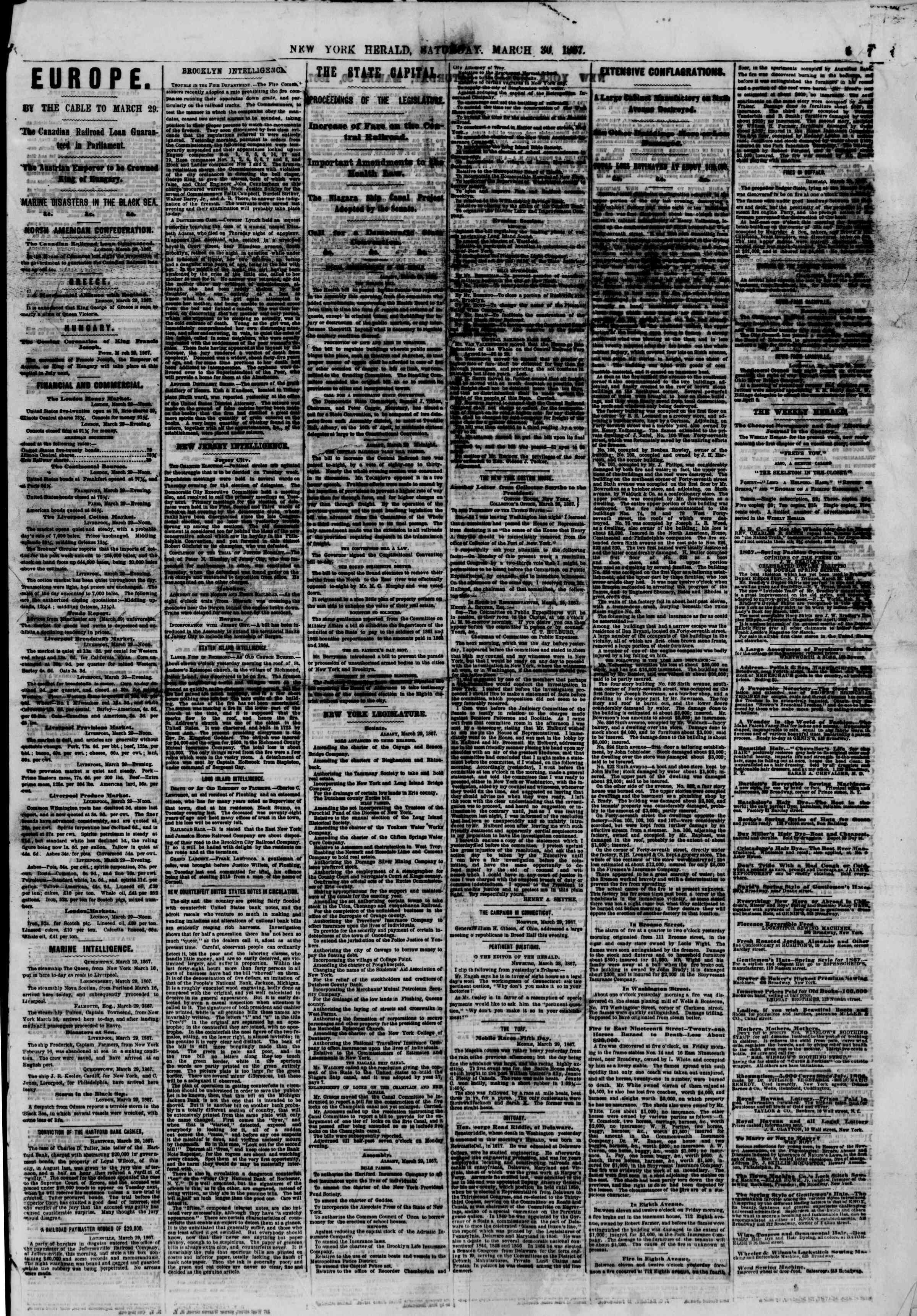 Newspaper of The New York Herald dated March 30, 1867 Page 5