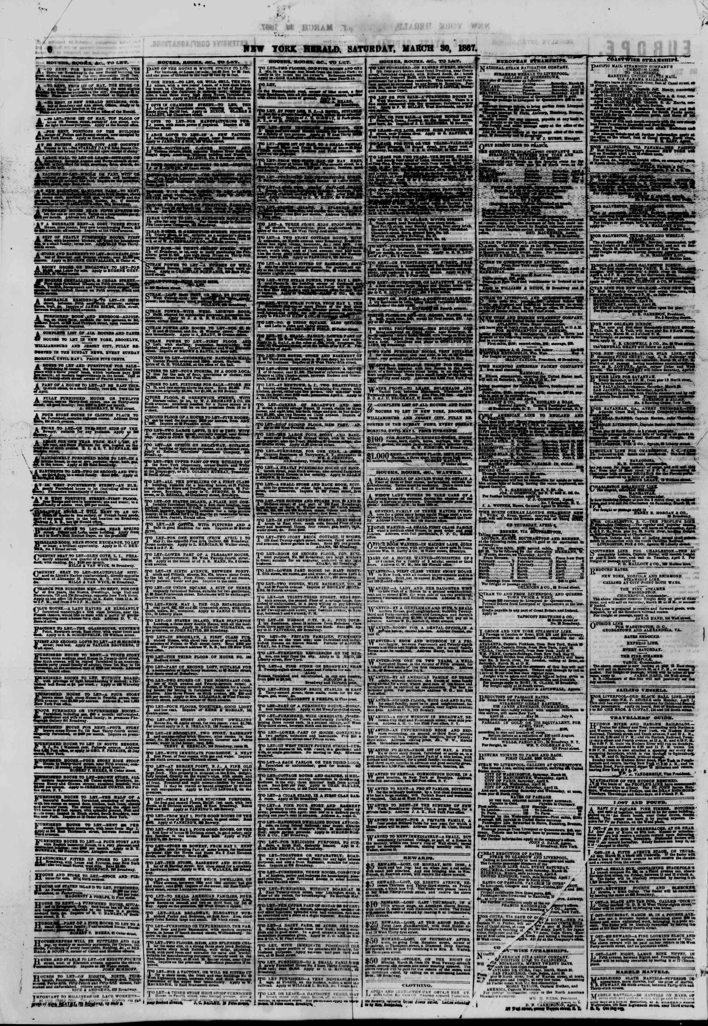 Newspaper of The New York Herald dated March 30, 1867 Page 6