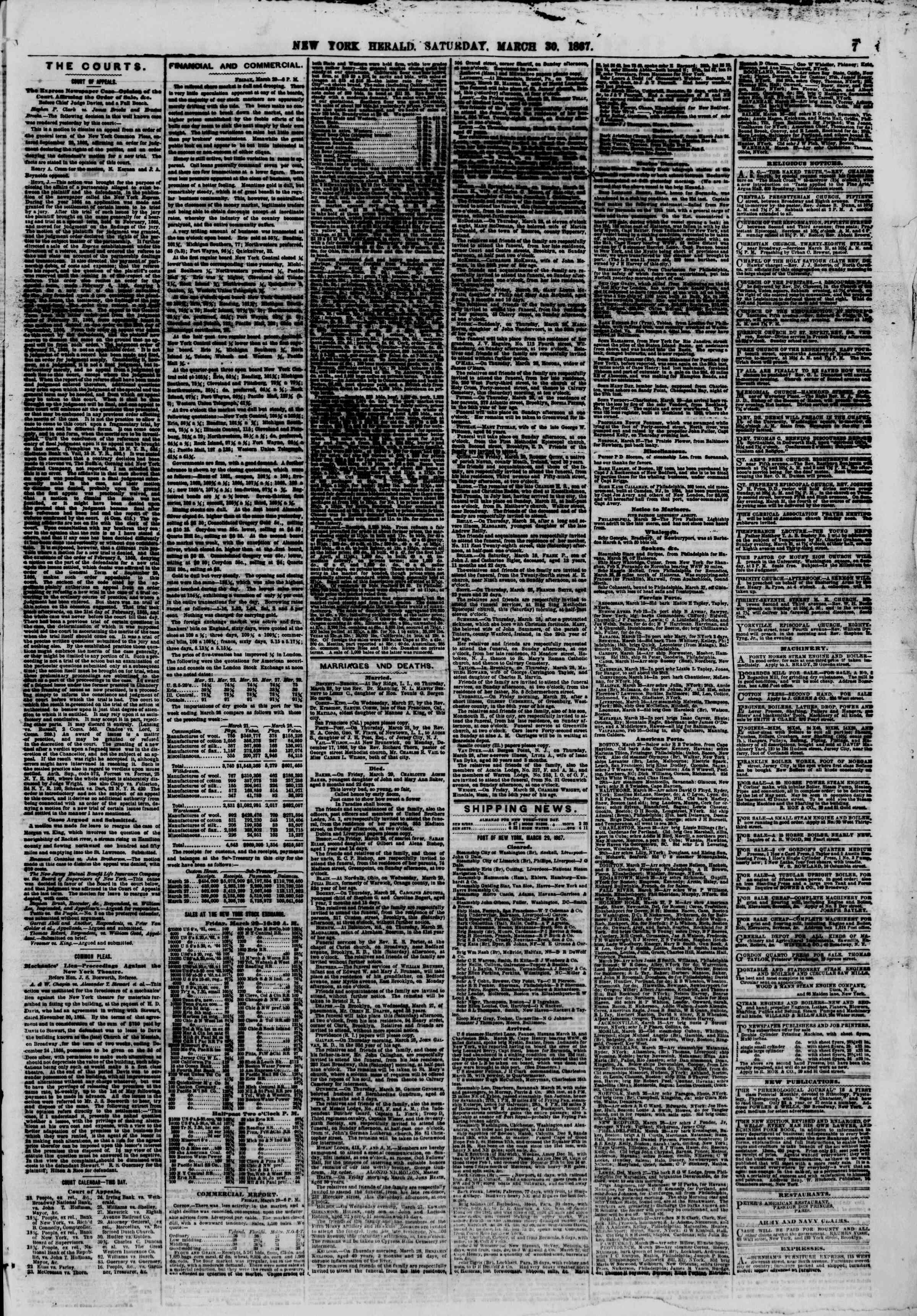 Newspaper of The New York Herald dated March 30, 1867 Page 7