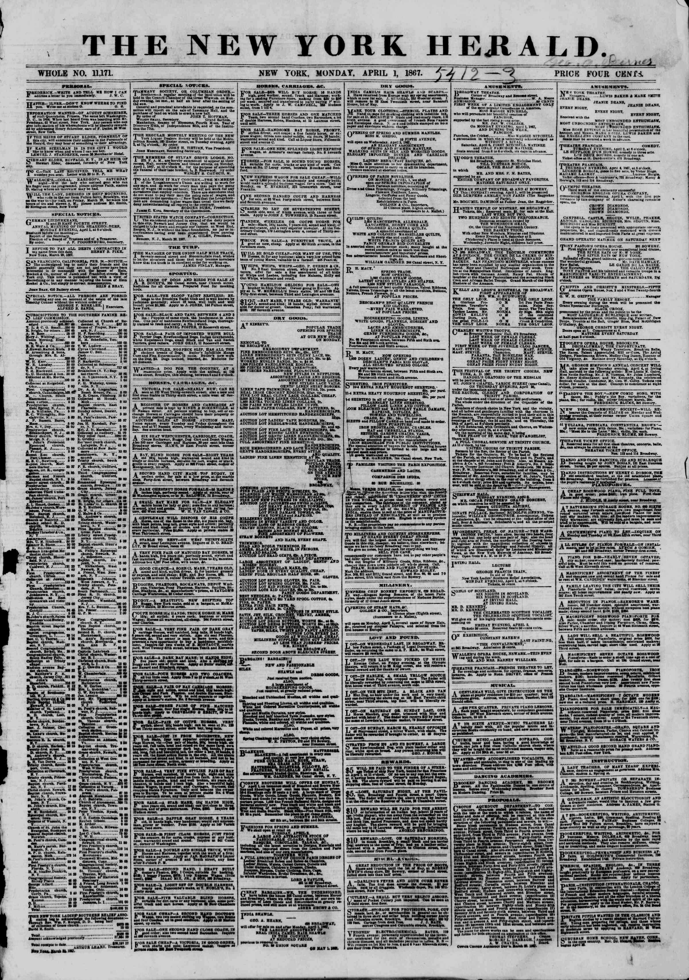 Newspaper of The New York Herald dated April 1, 1867 Page 1