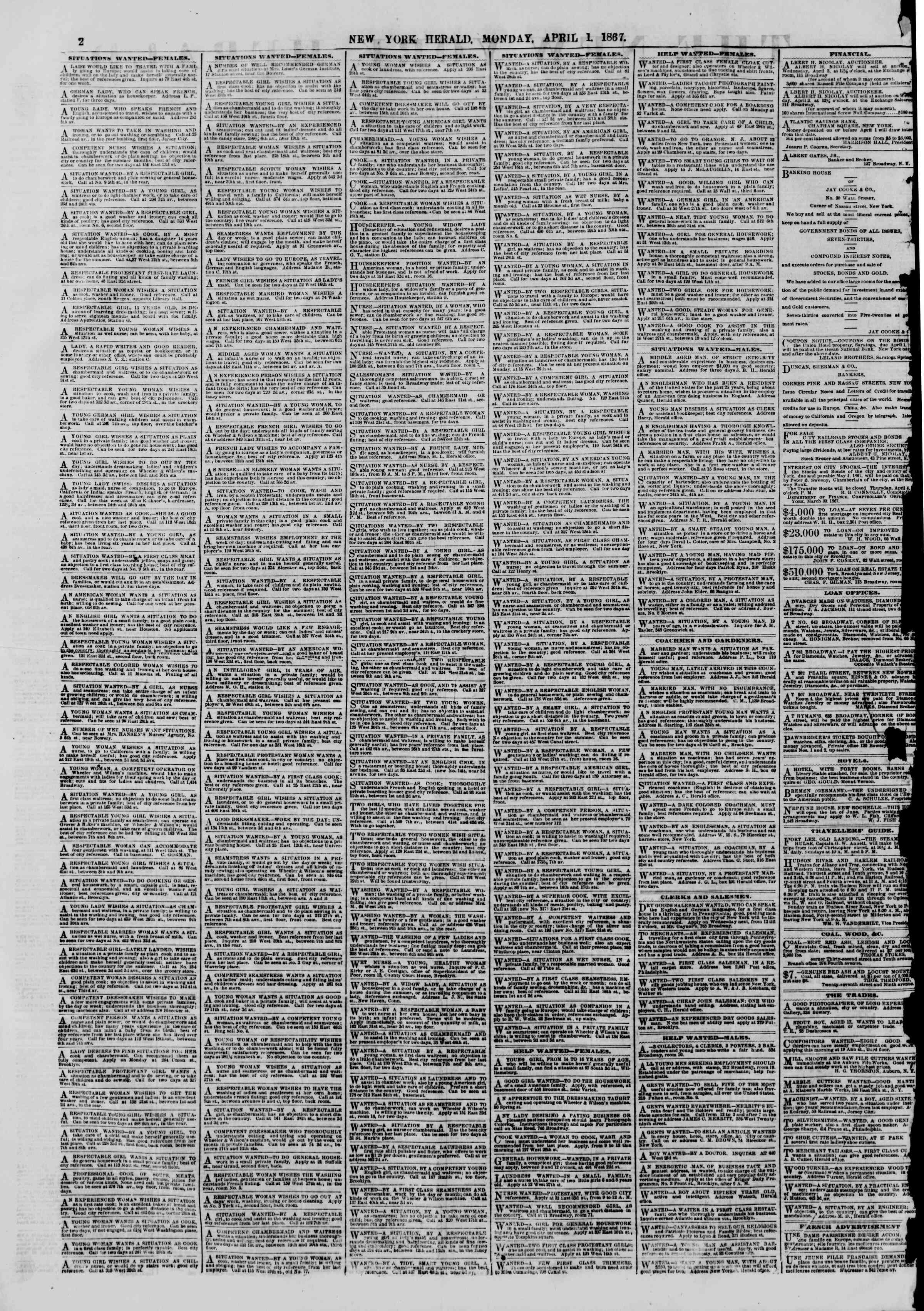 Newspaper of The New York Herald dated April 1, 1867 Page 2