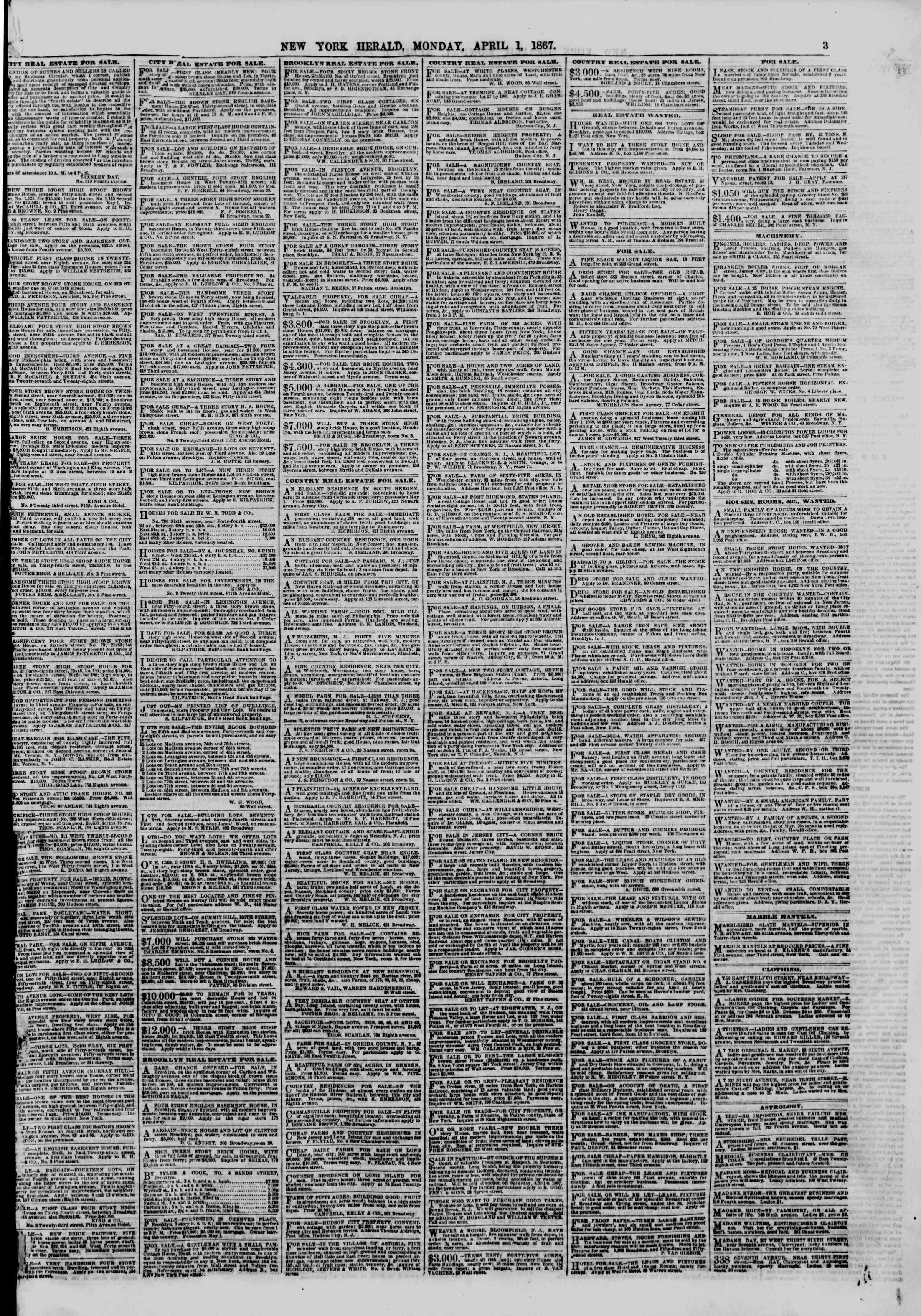 Newspaper of The New York Herald dated April 1, 1867 Page 3