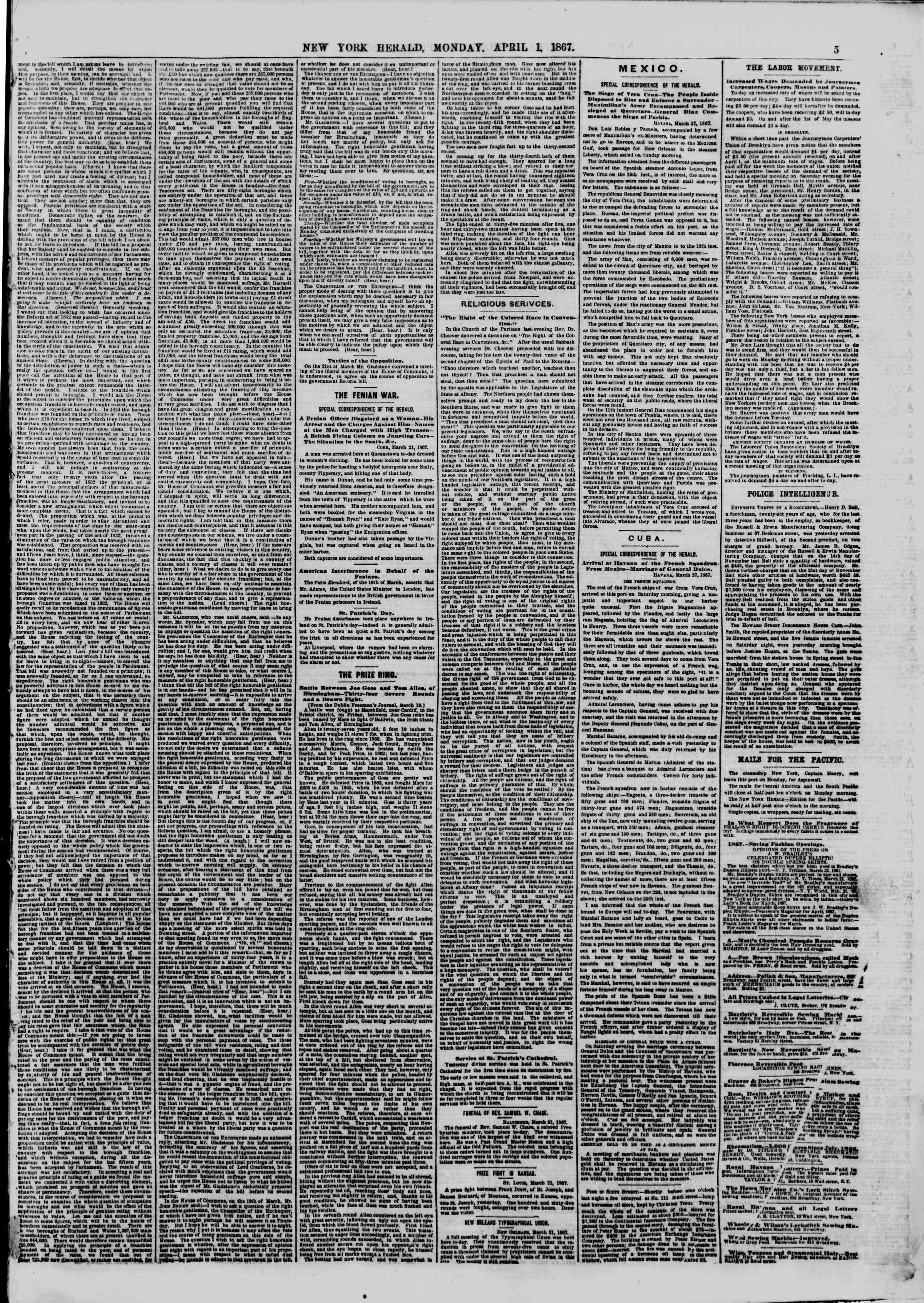 Newspaper of The New York Herald dated April 1, 1867 Page 5