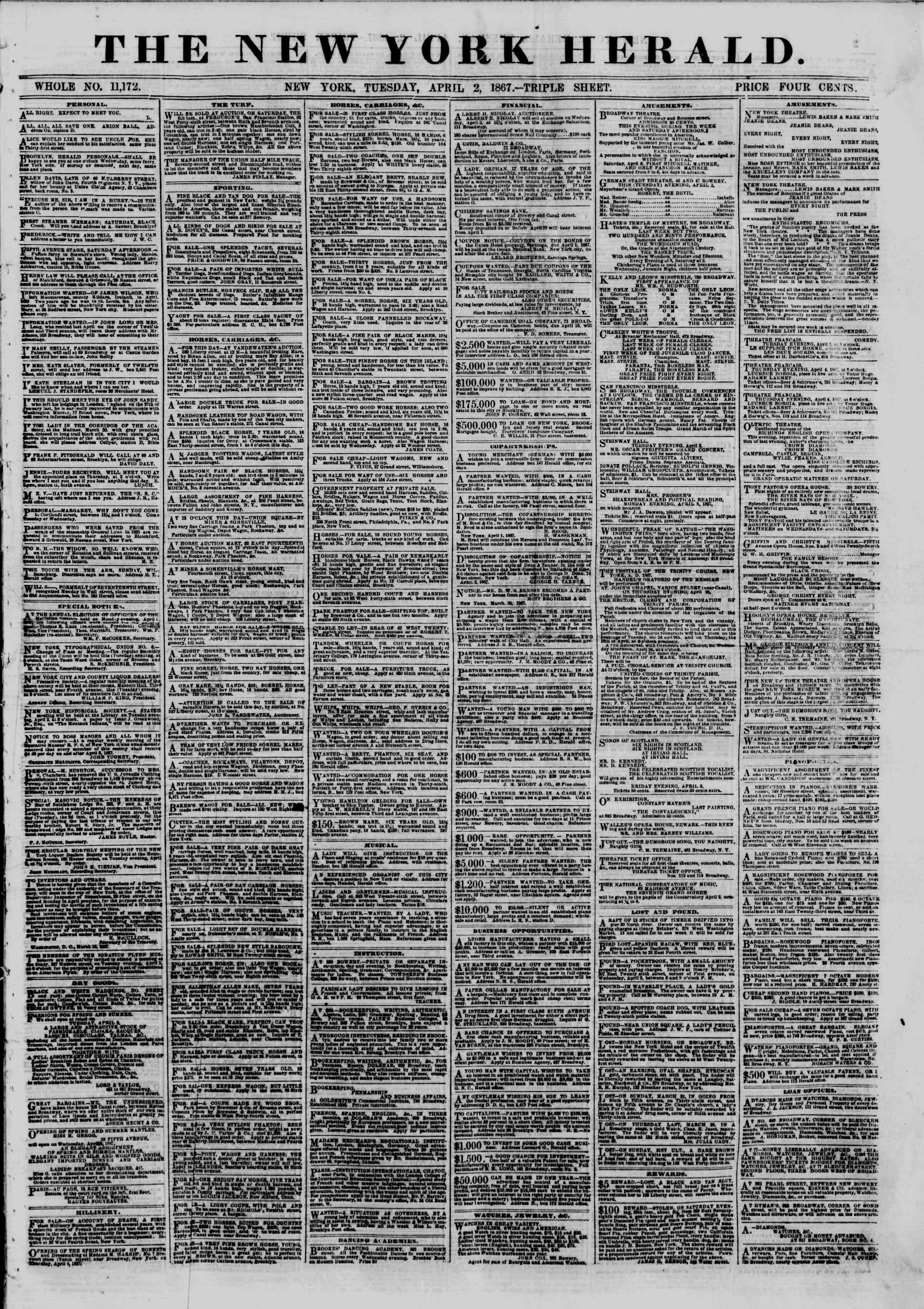 Newspaper of The New York Herald dated April 2, 1867 Page 1