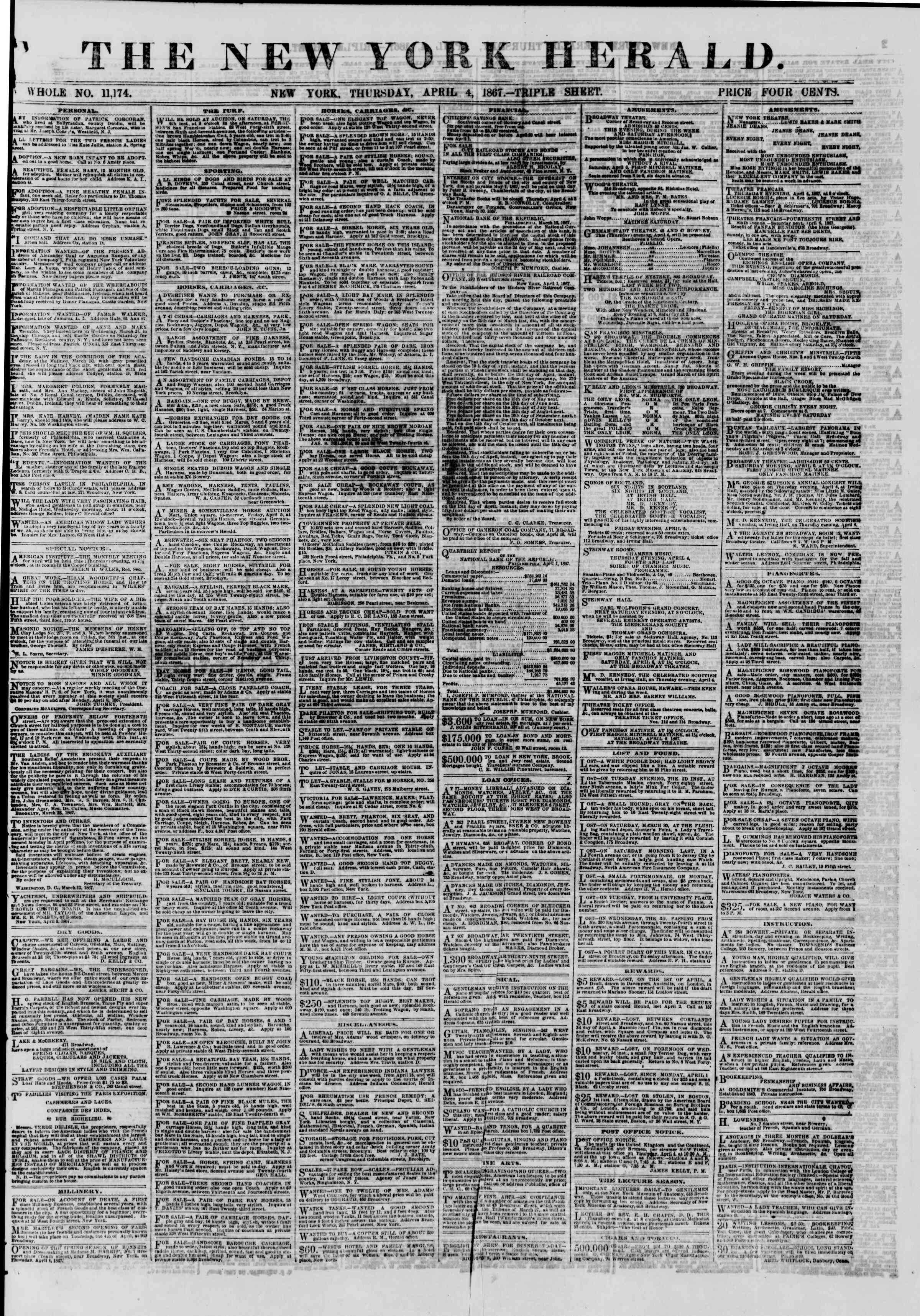 Newspaper of The New York Herald dated April 4, 1867 Page 1