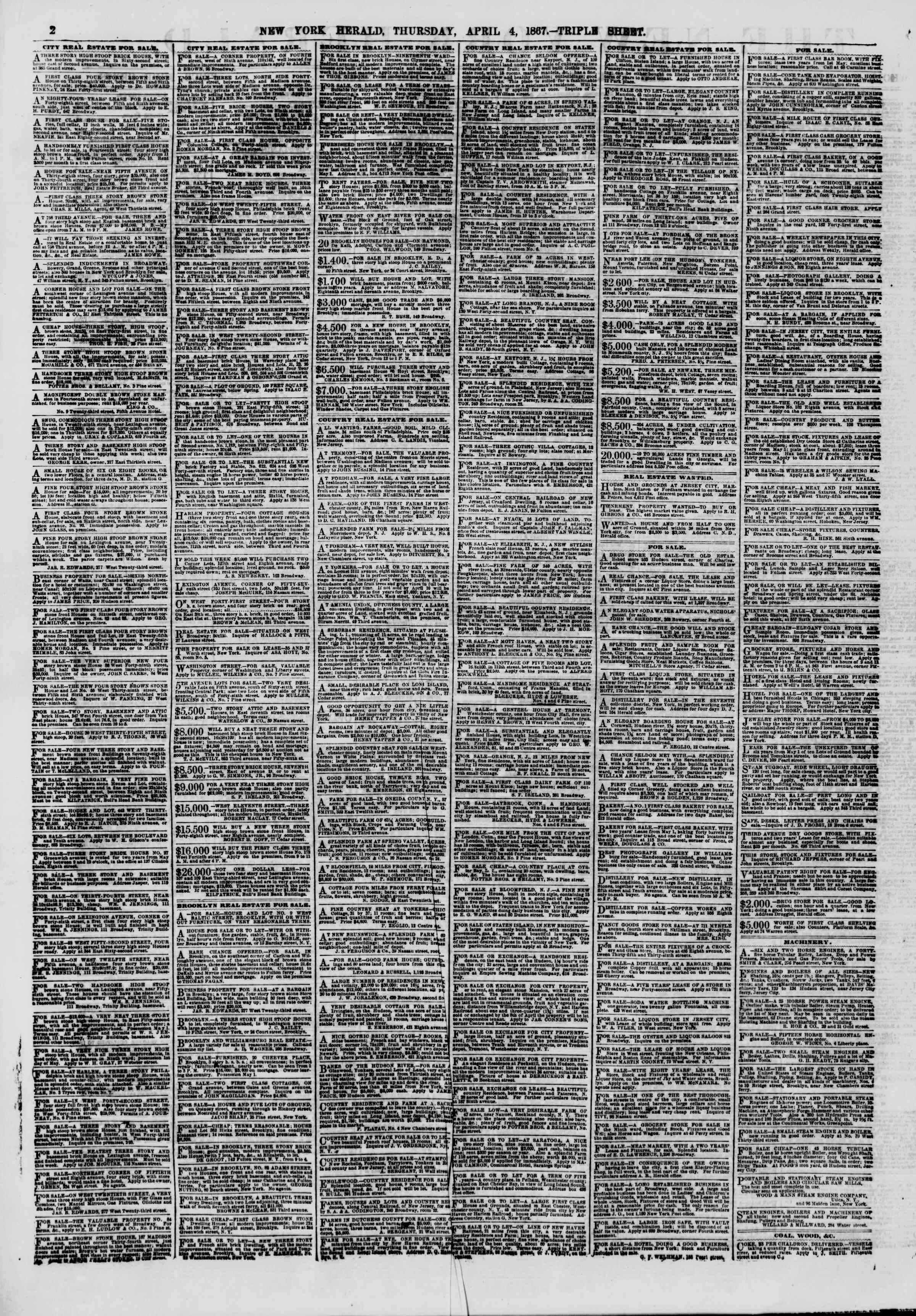 Newspaper of The New York Herald dated April 4, 1867 Page 2