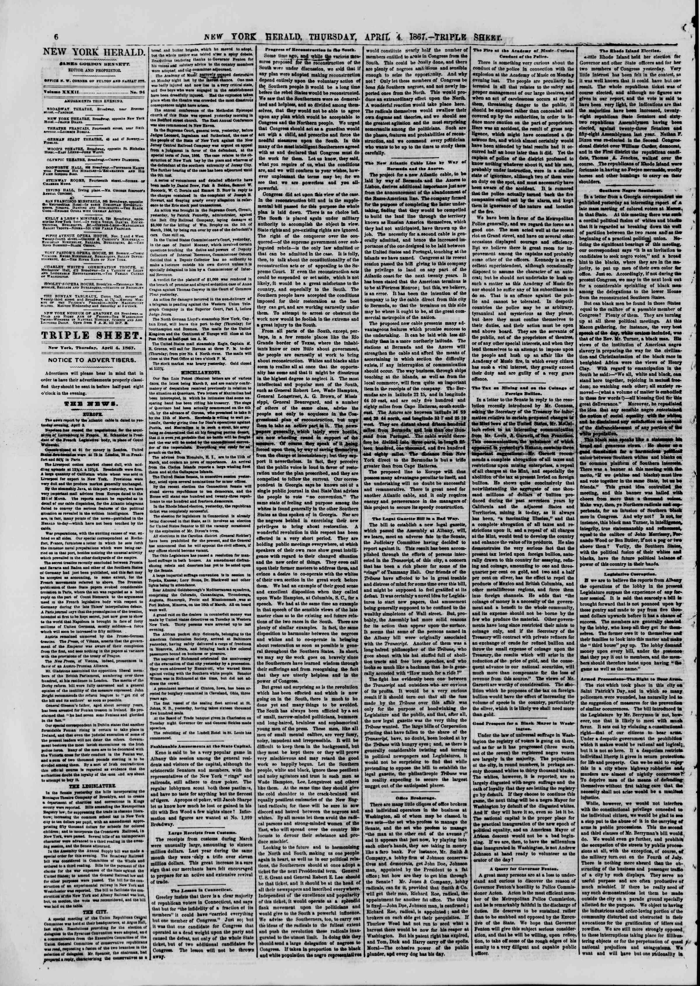 Newspaper of The New York Herald dated April 4, 1867 Page 6