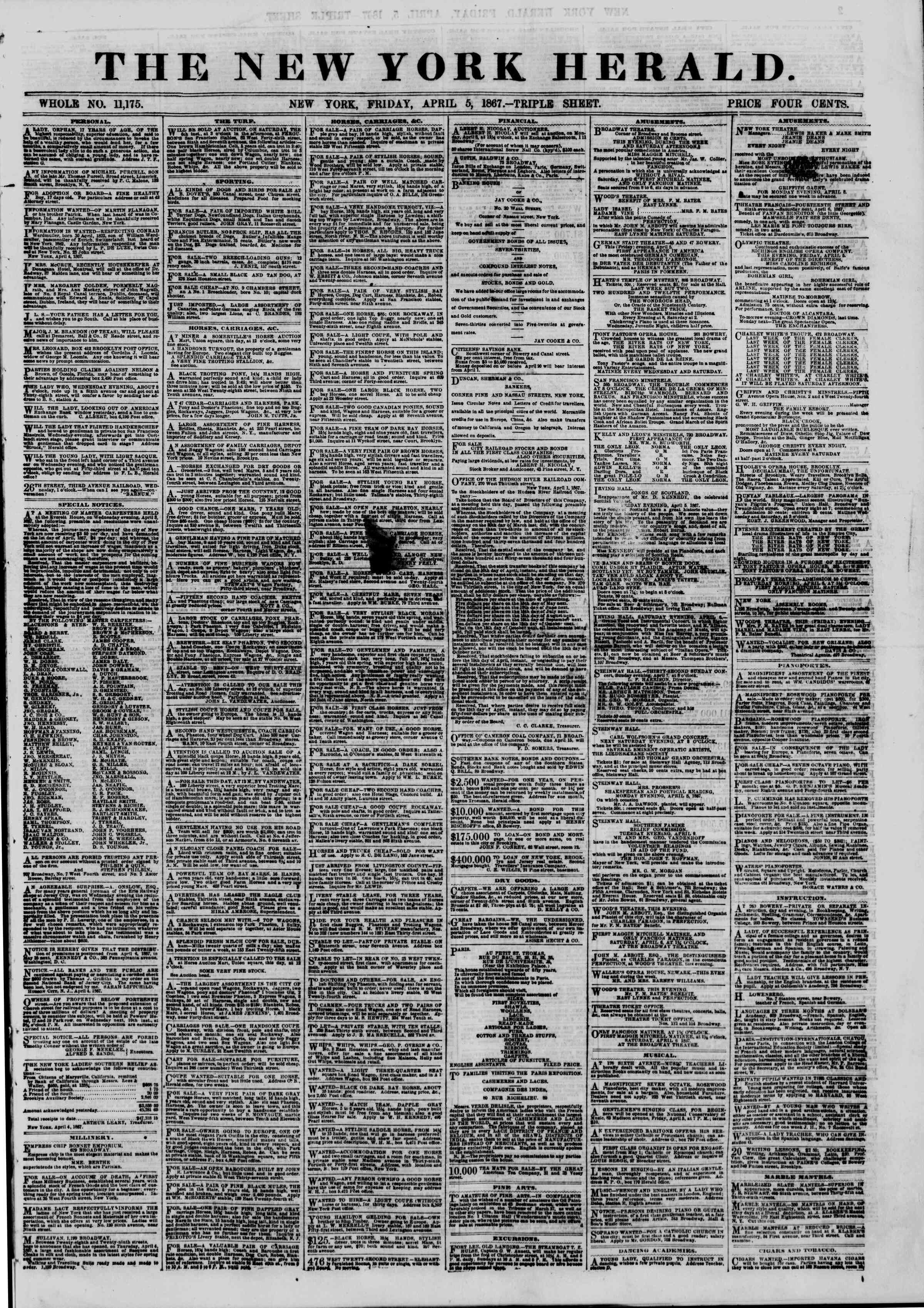 Newspaper of The New York Herald dated April 5, 1867 Page 1