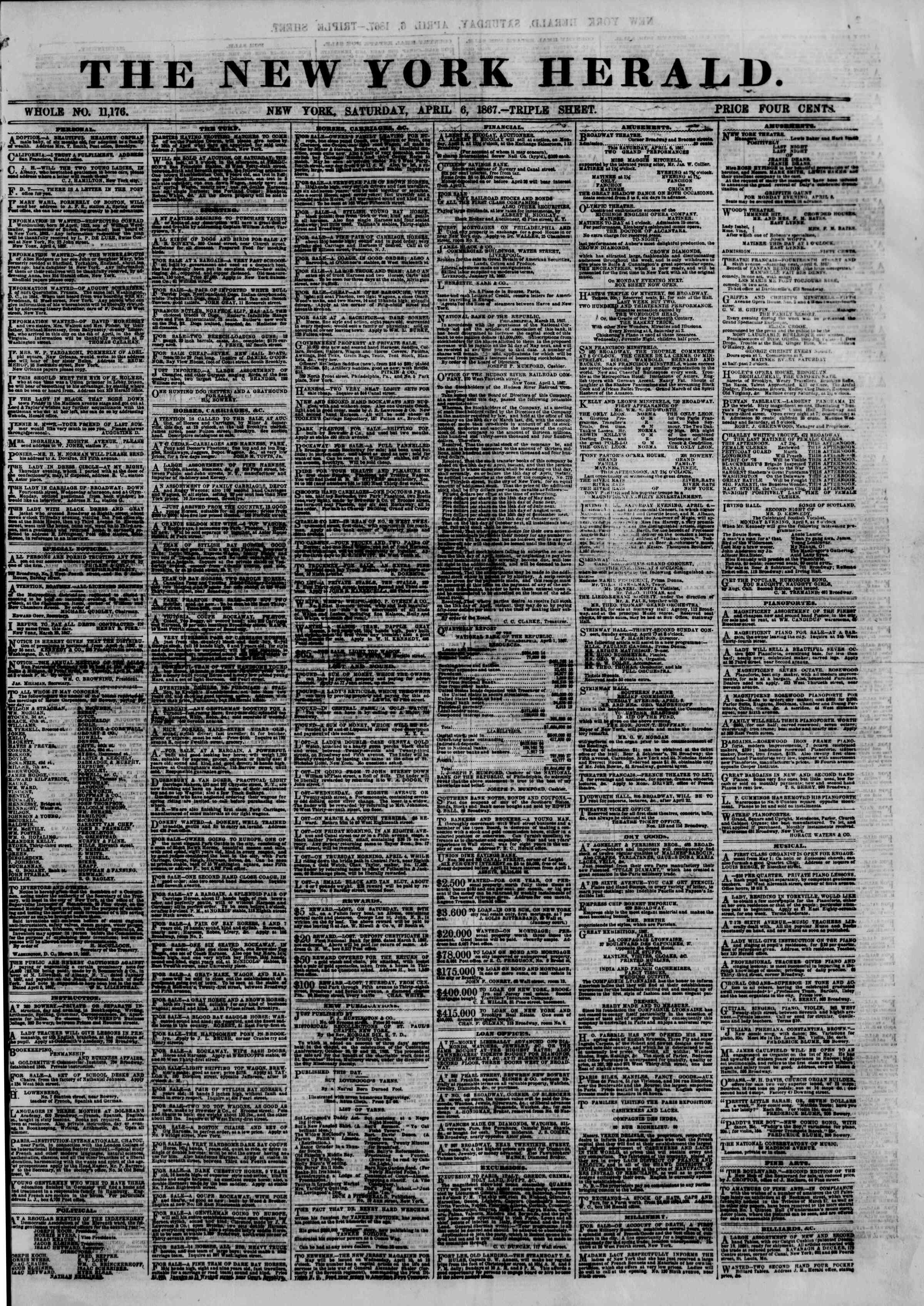 Newspaper of The New York Herald dated April 6, 1867 Page 1
