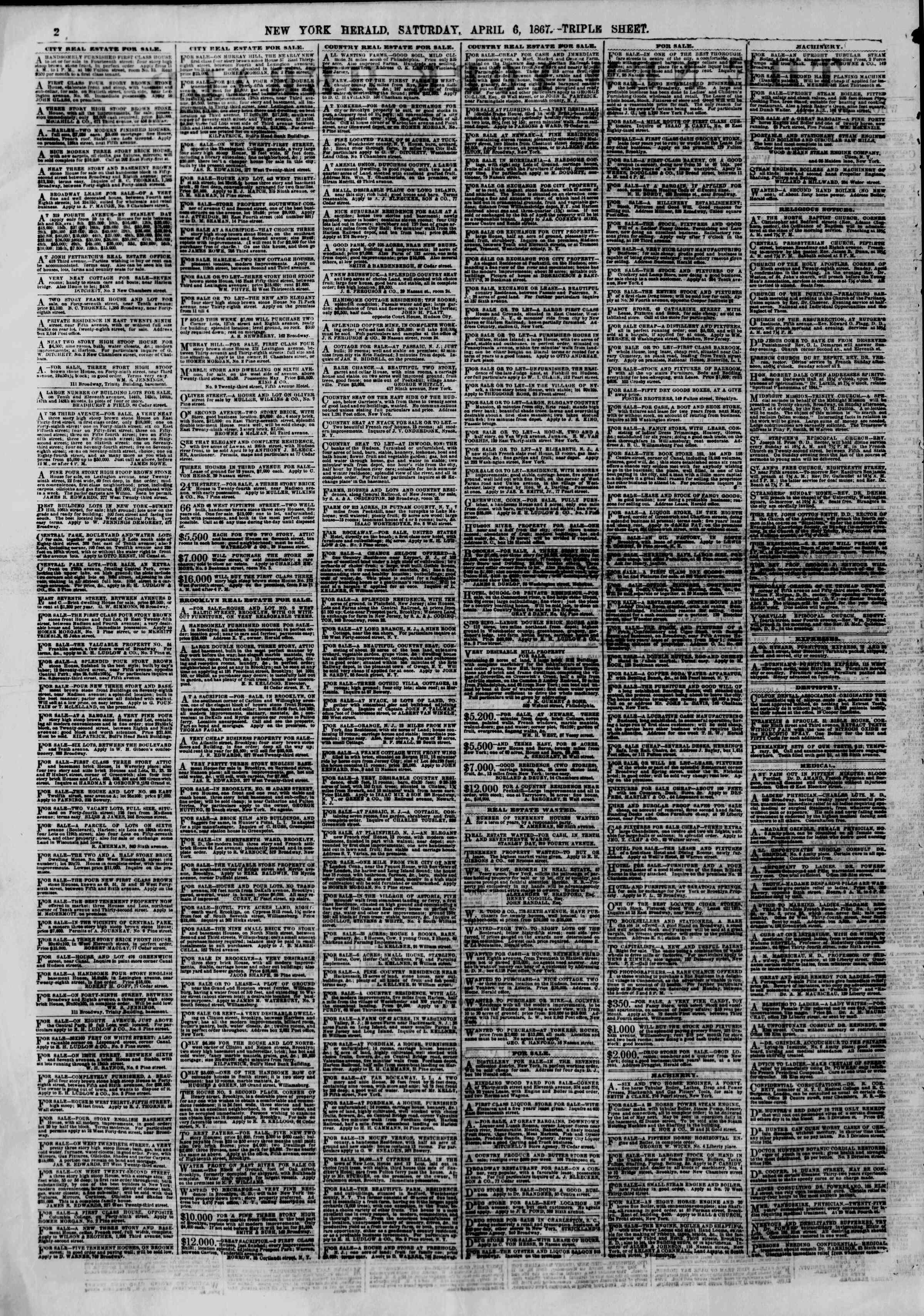 Newspaper of The New York Herald dated April 6, 1867 Page 2