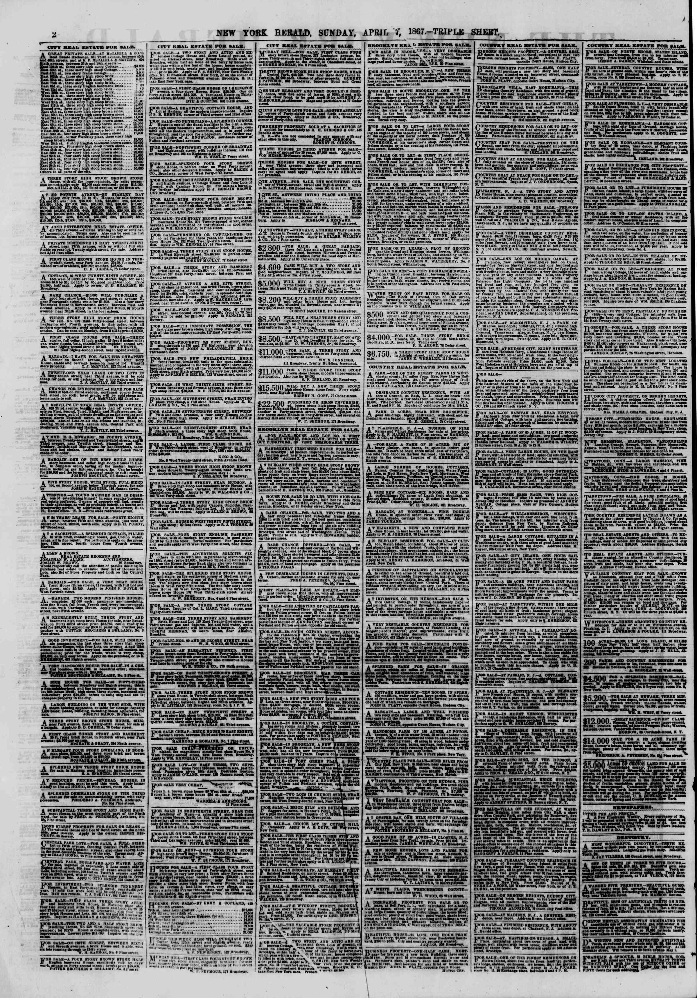 Newspaper of The New York Herald dated April 7, 1867 Page 2