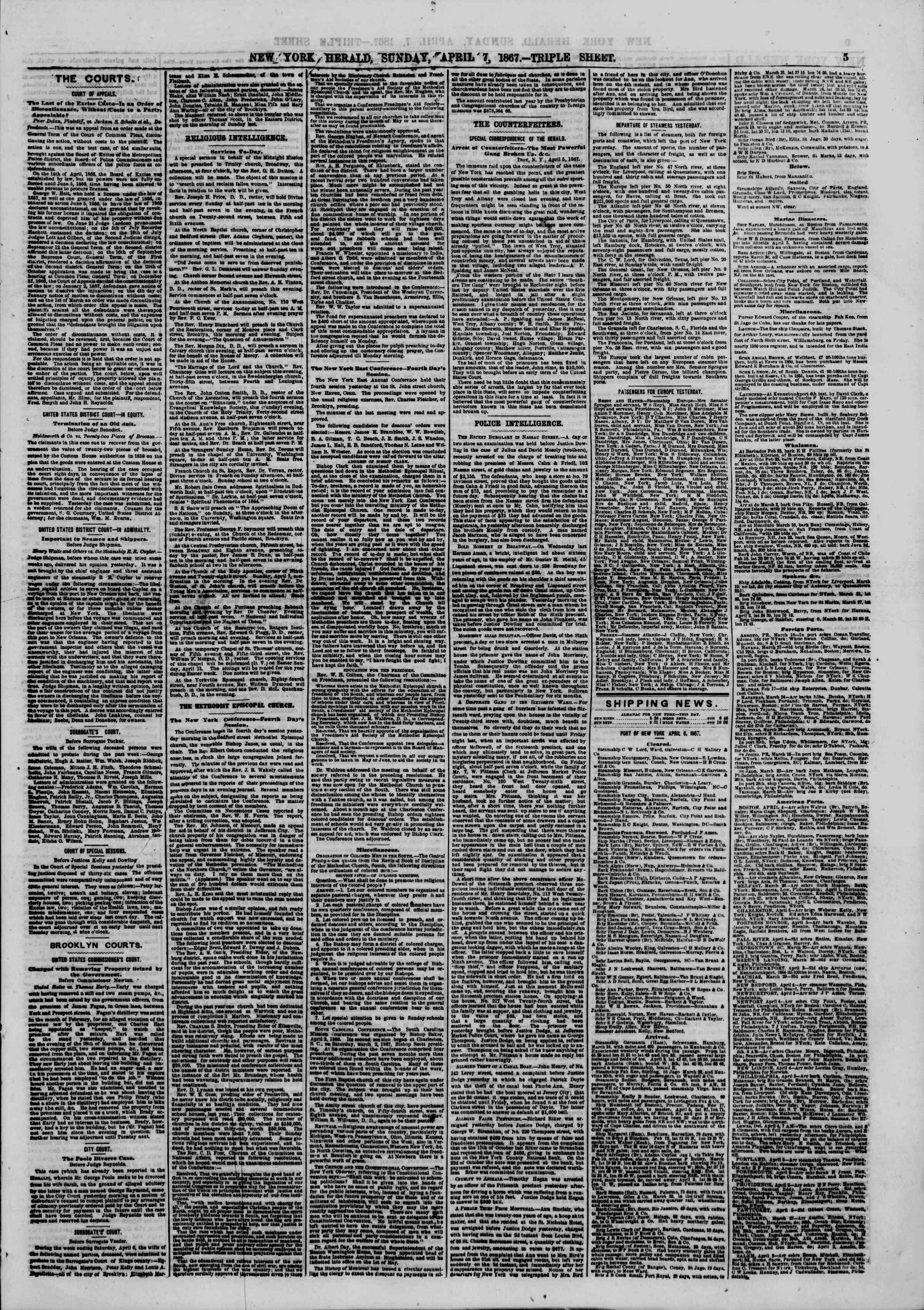 Newspaper of The New York Herald dated April 7, 1867 Page 5