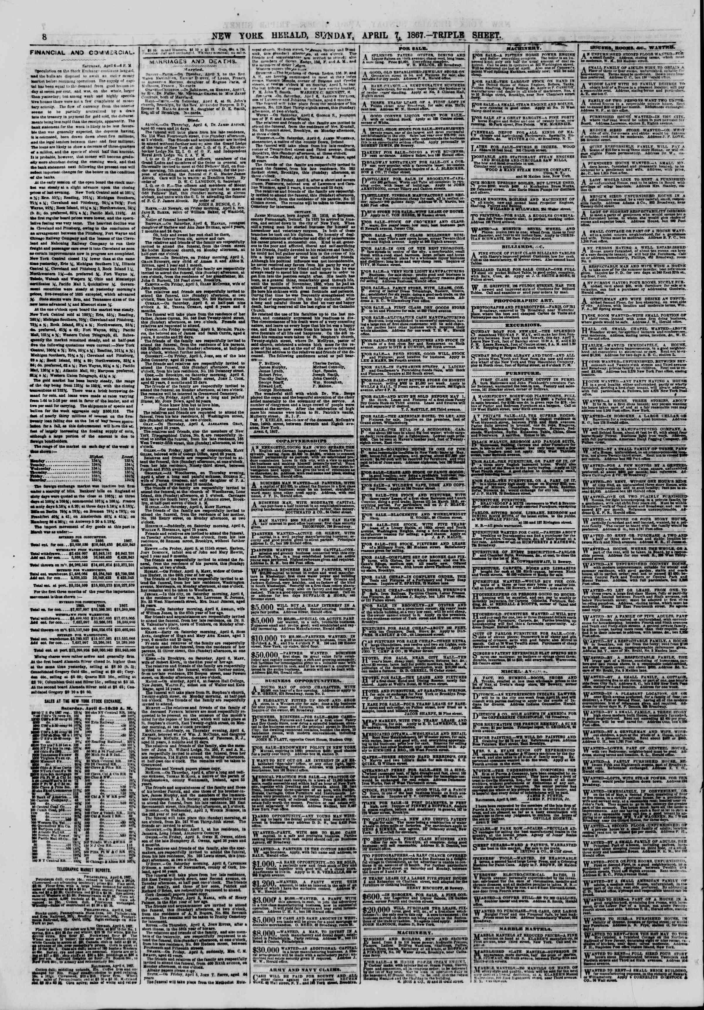 Newspaper of The New York Herald dated April 7, 1867 Page 8
