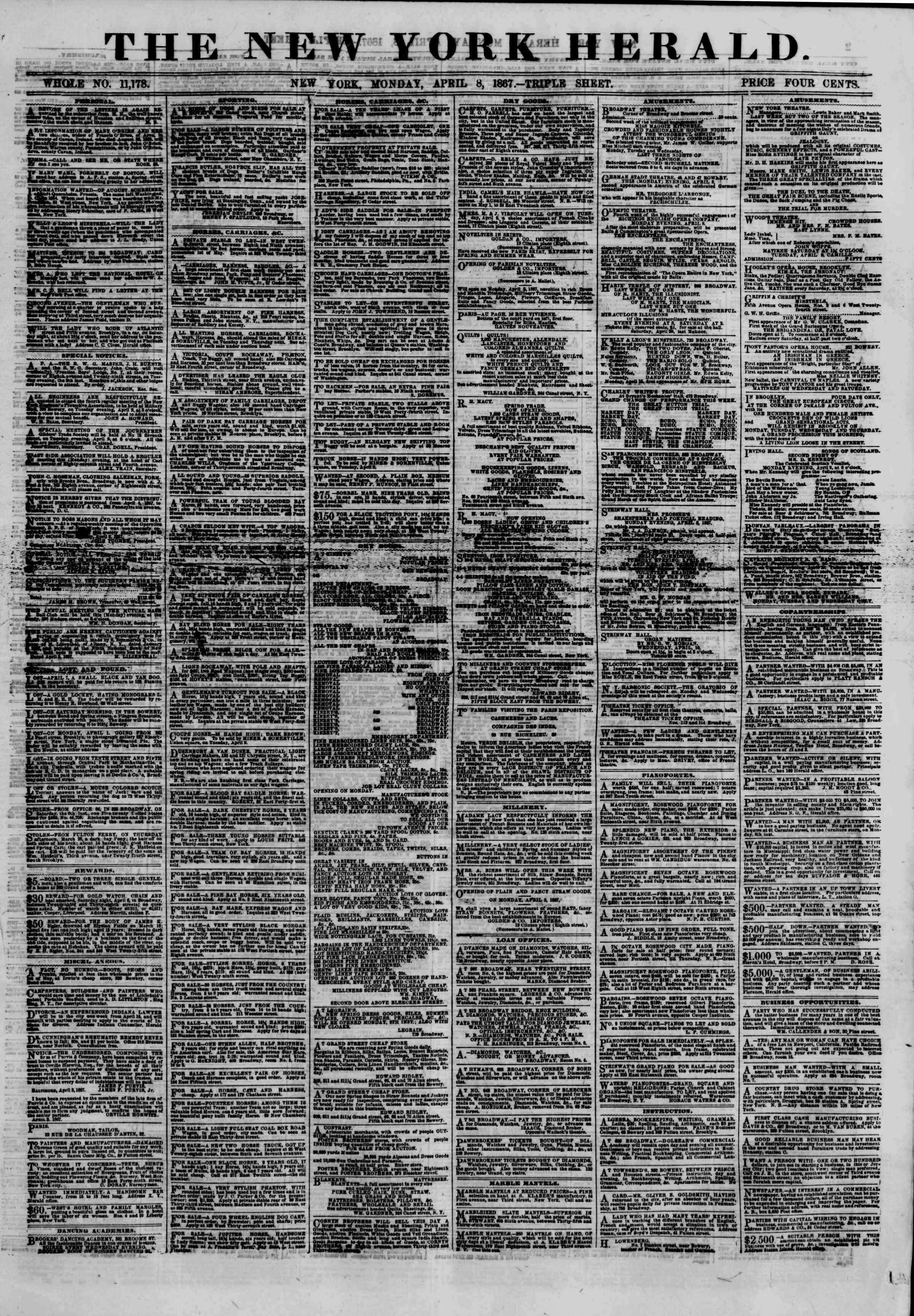 Newspaper of The New York Herald dated April 8, 1867 Page 1