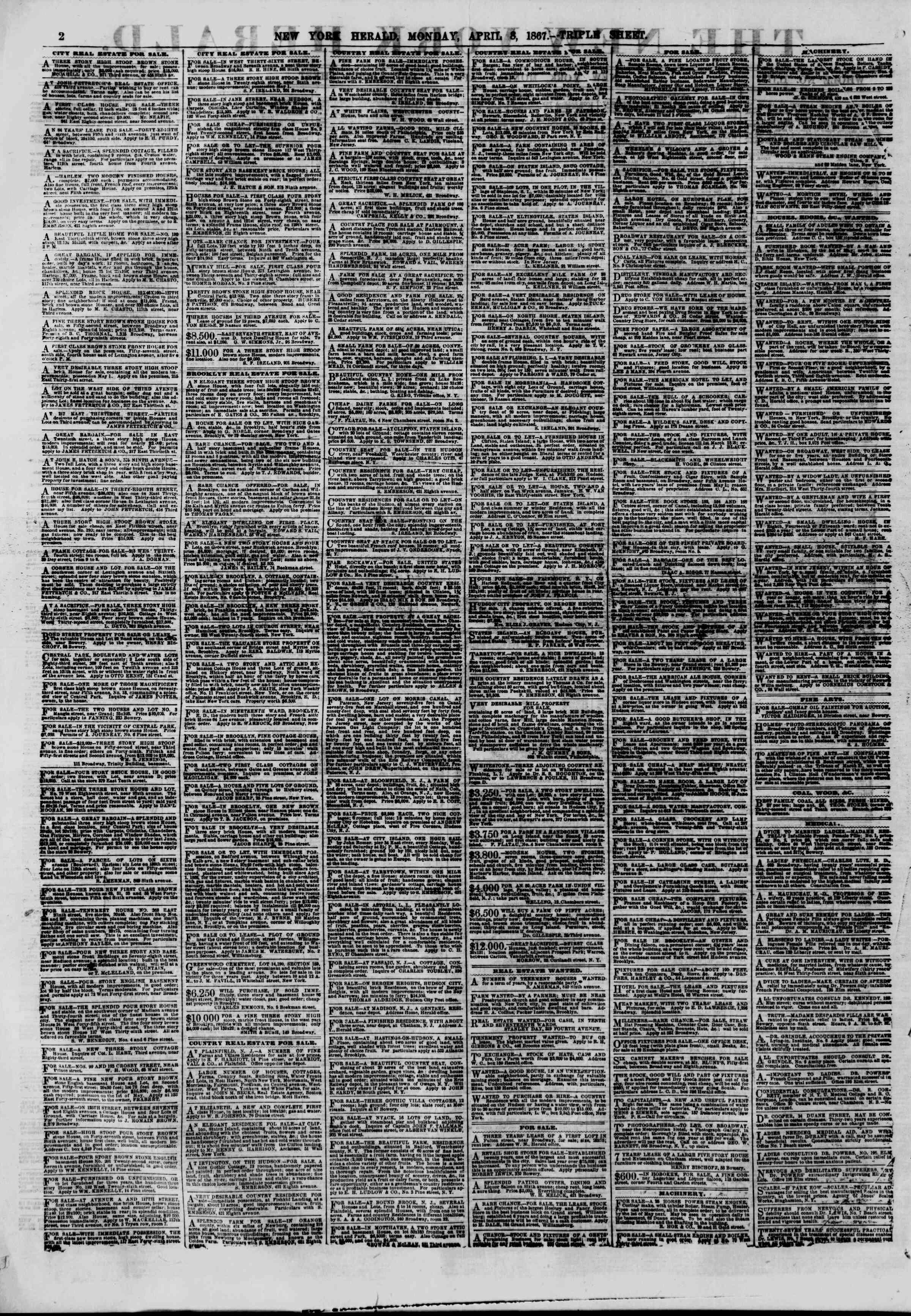Newspaper of The New York Herald dated April 8, 1867 Page 2