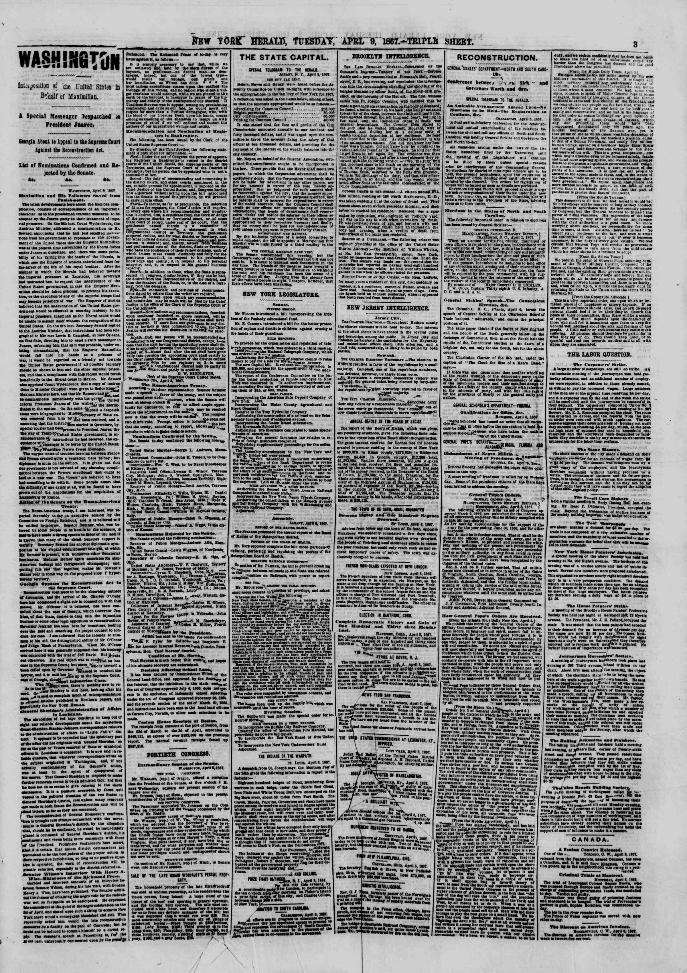Newspaper of The New York Herald dated April 9, 1867 Page 3