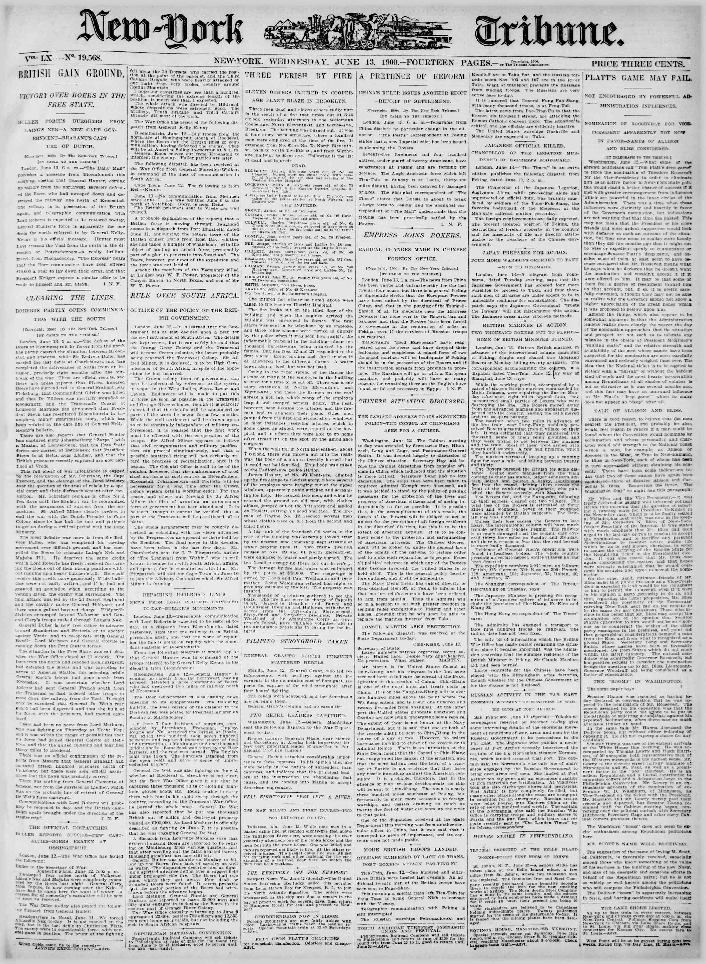 13 Haziran 1900 Tarihli New York Tribune Gazetesi Sayfa 1