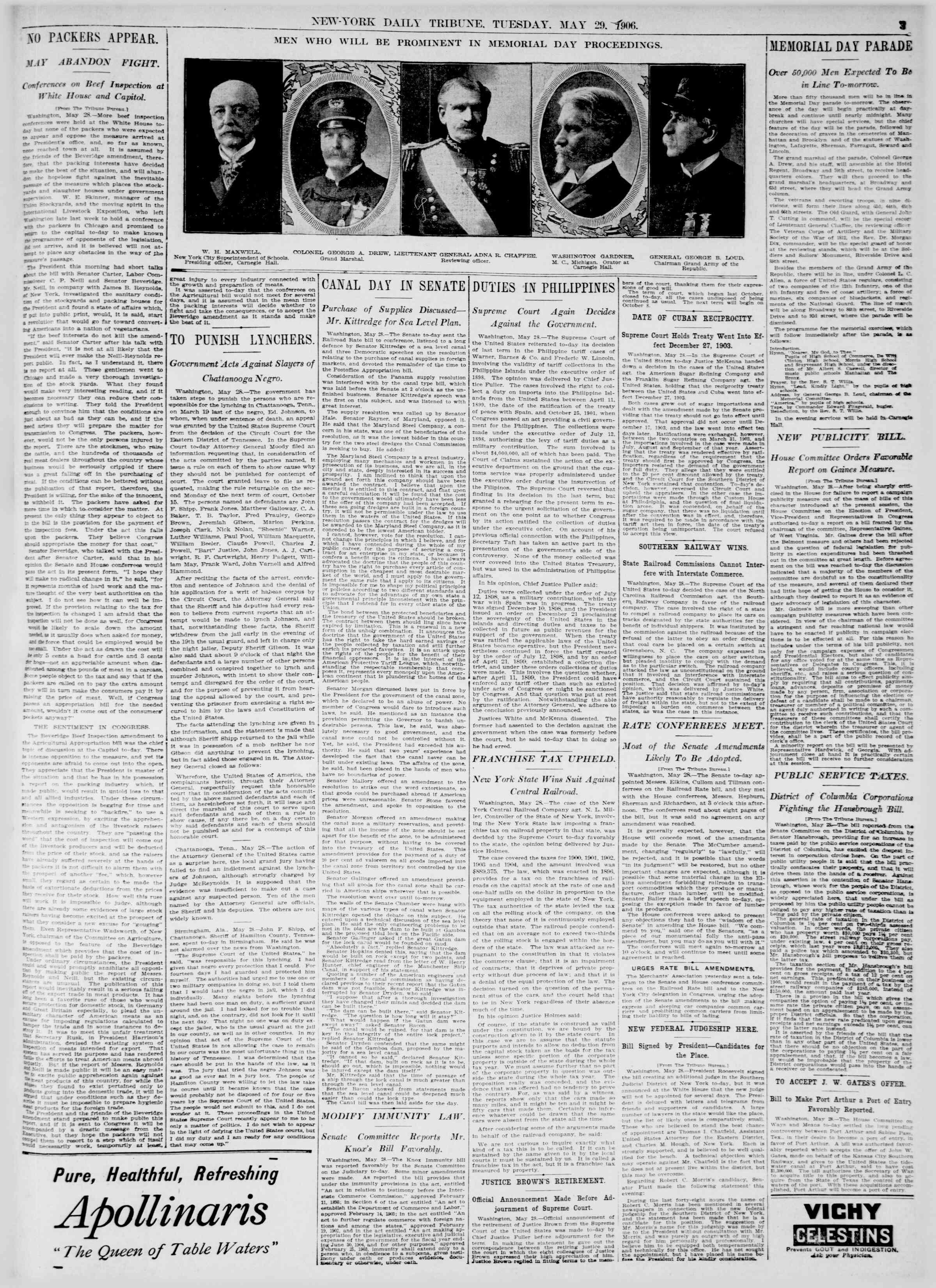 29 Mayıs 1906 Tarihli New York Tribune Gazetesi Sayfa 3