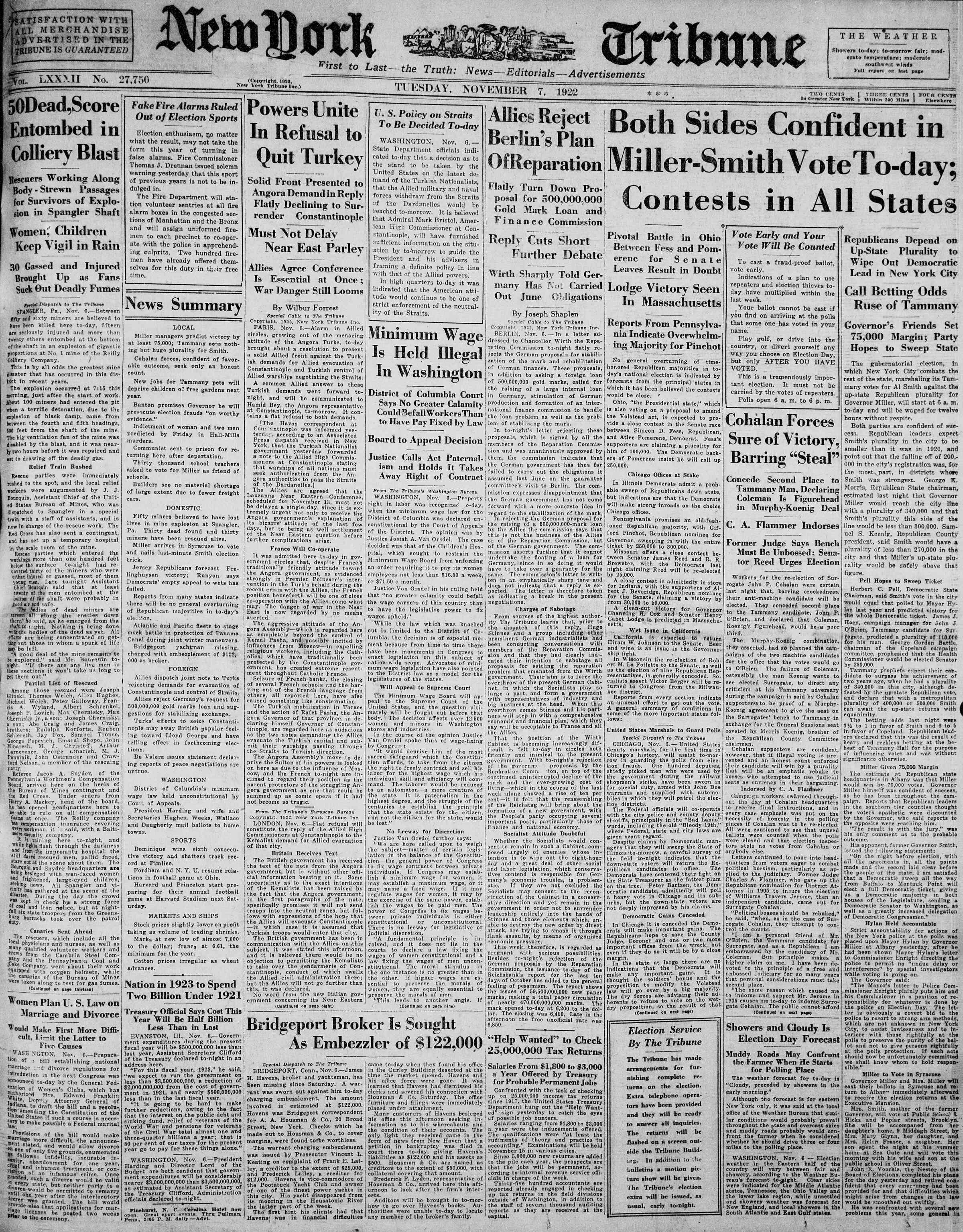 7 Kasım 1922 tarihli New York Tribune Gazetesi Sayfa 1