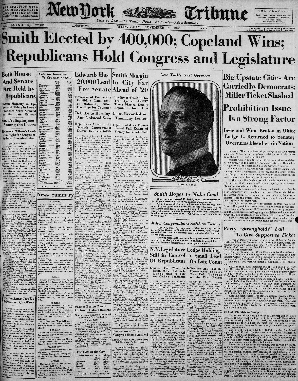 8 Kasım 1922 tarihli New York Tribune Gazetesi Sayfa 1