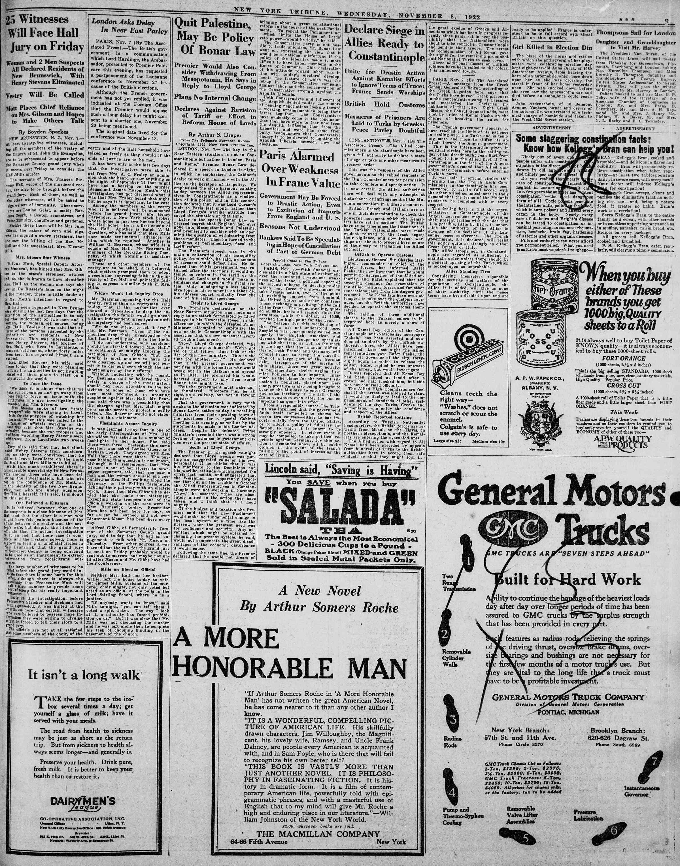 8 Kasım 1922 Tarihli New York Tribune Gazetesi Sayfa 9