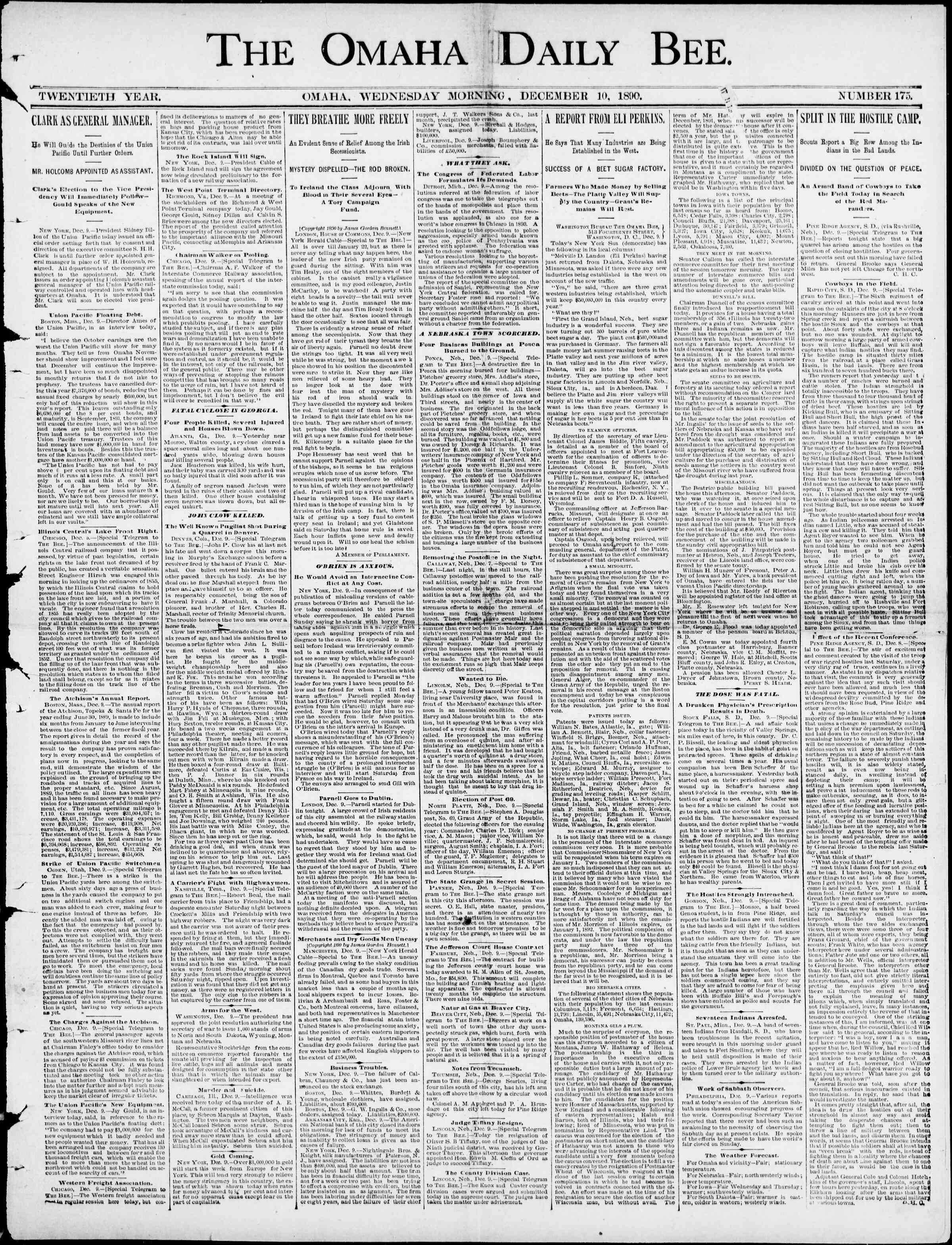 10 Aralık 1890 Tarihli Omaha Daily Bee Gazetesi Sayfa 1
