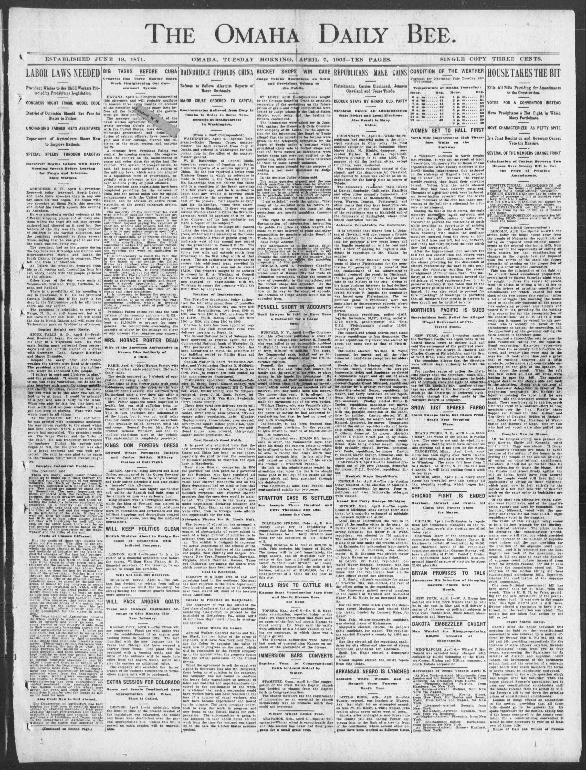 7 Nisan 1903 Tarihli Omaha Daily Bee Gazetesi Sayfa 1