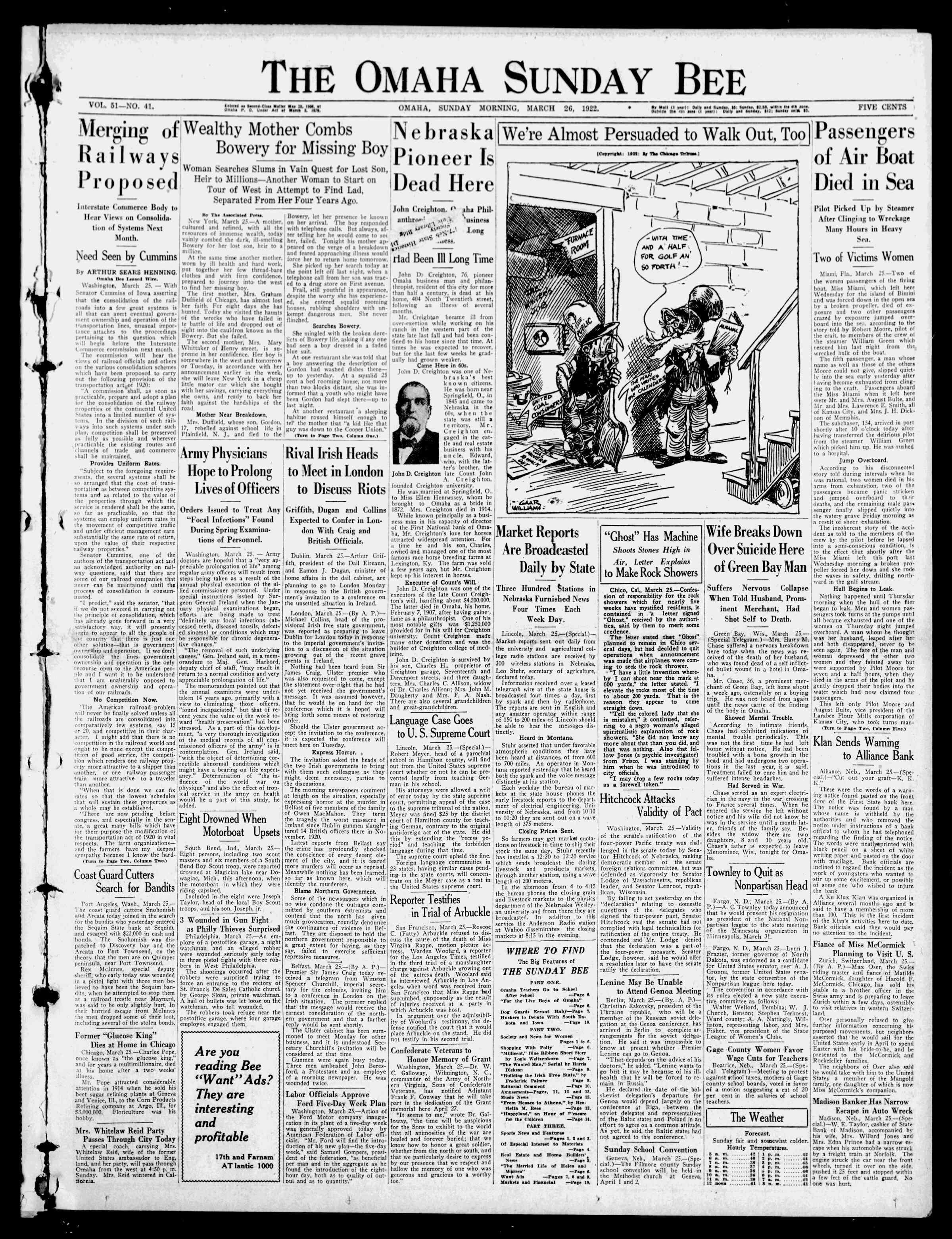 26 Mart 1922 tarihli Omaha Daily Bee Gazetesi Sayfa 1
