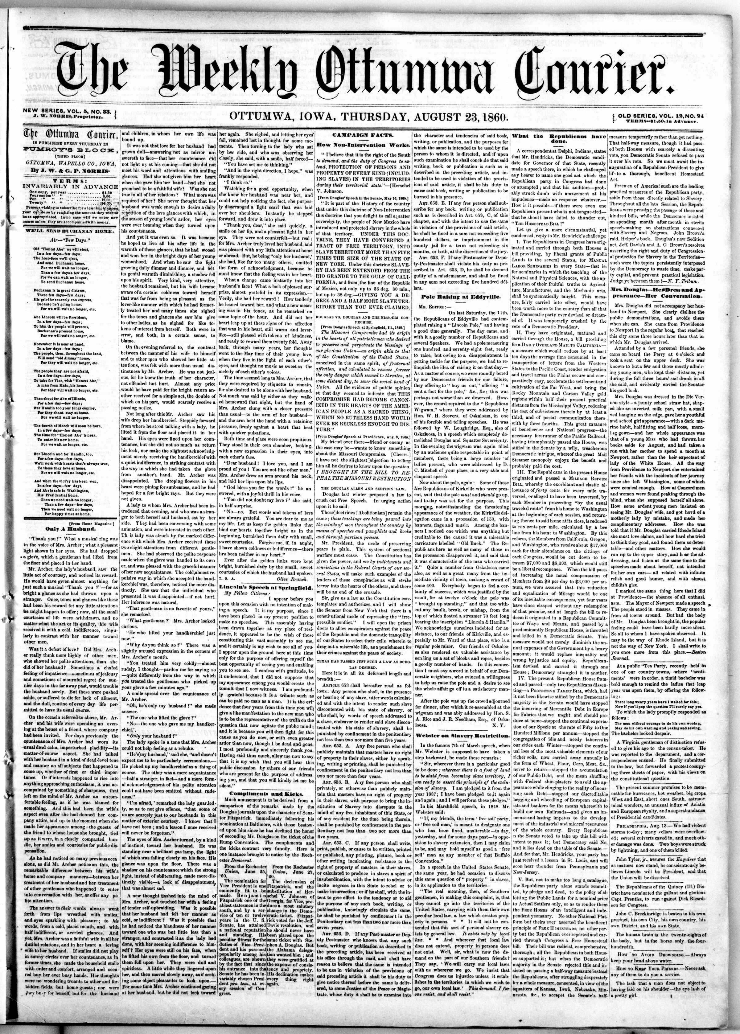 Newspaper of The Weekly Ottumwa Courier dated August 23, 1860 Page 1
