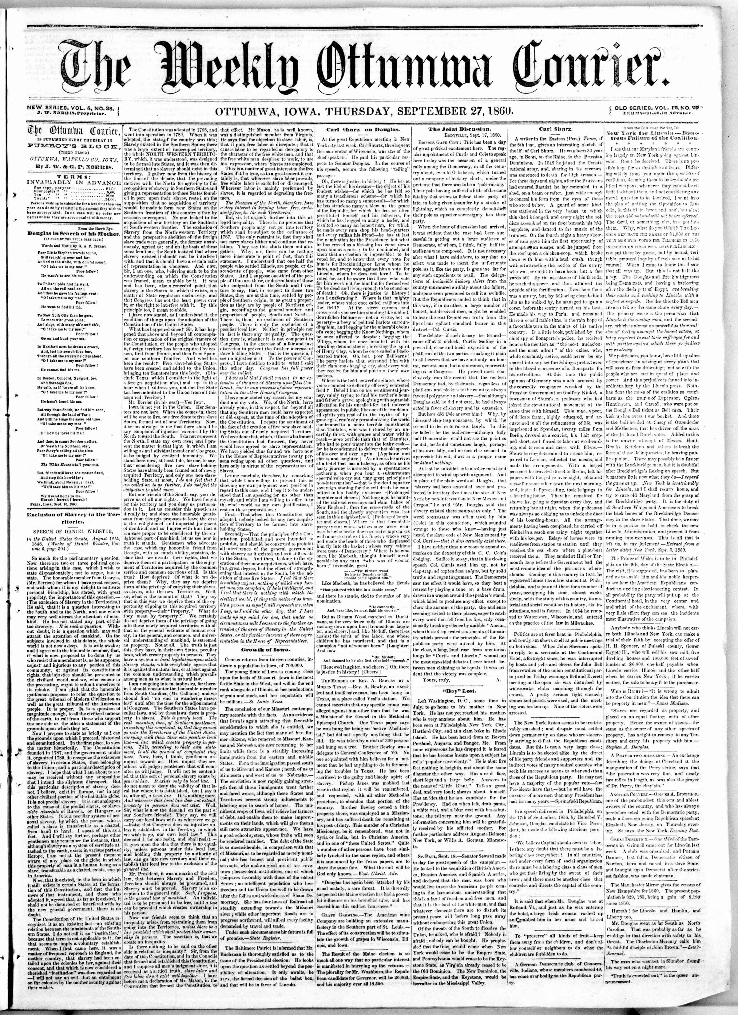 Newspaper of The Weekly Ottumwa Courier dated September 27, 1860 Page 1