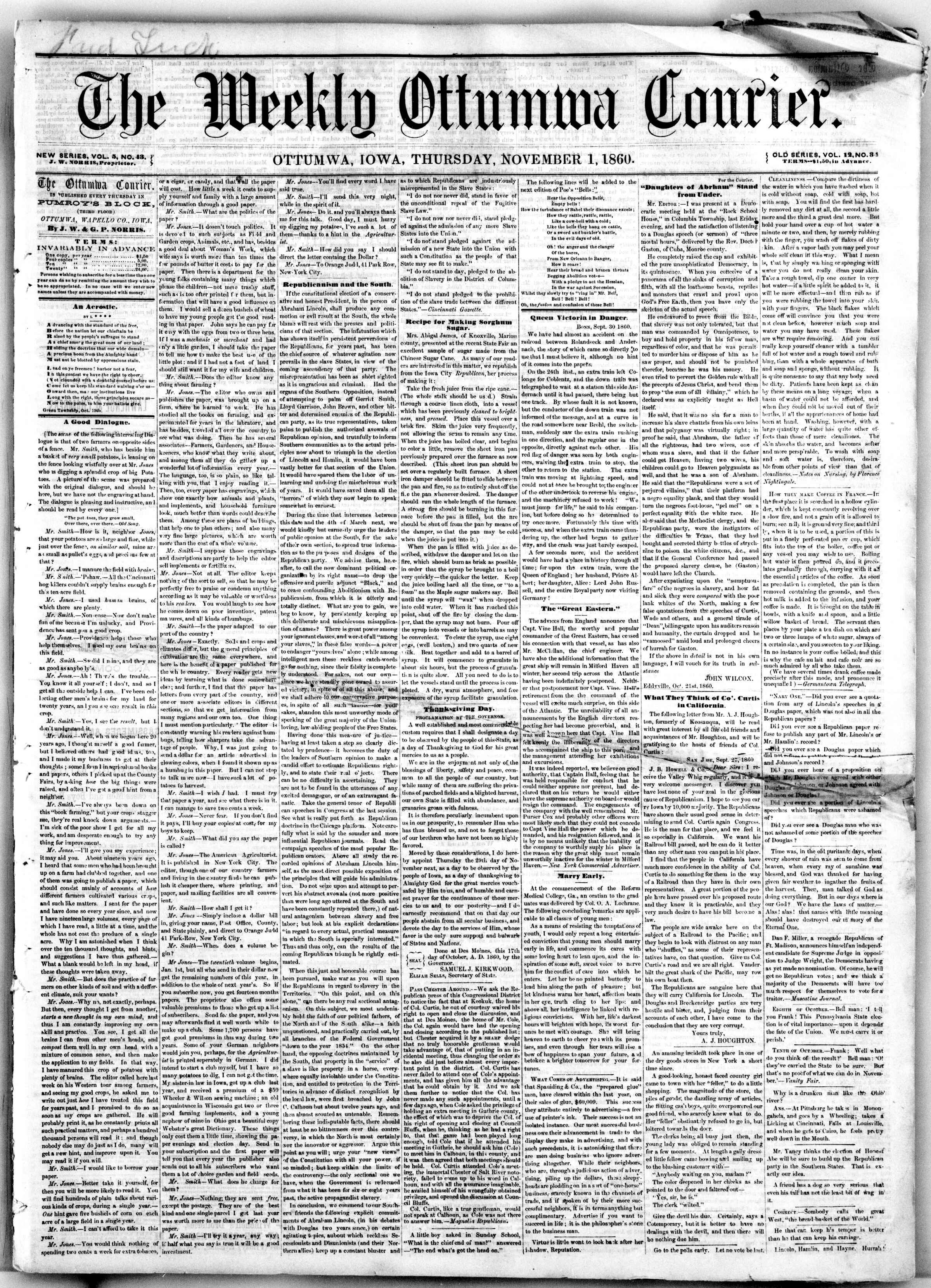 Newspaper of The Weekly Ottumwa Courier dated November 1, 1860 Page 1
