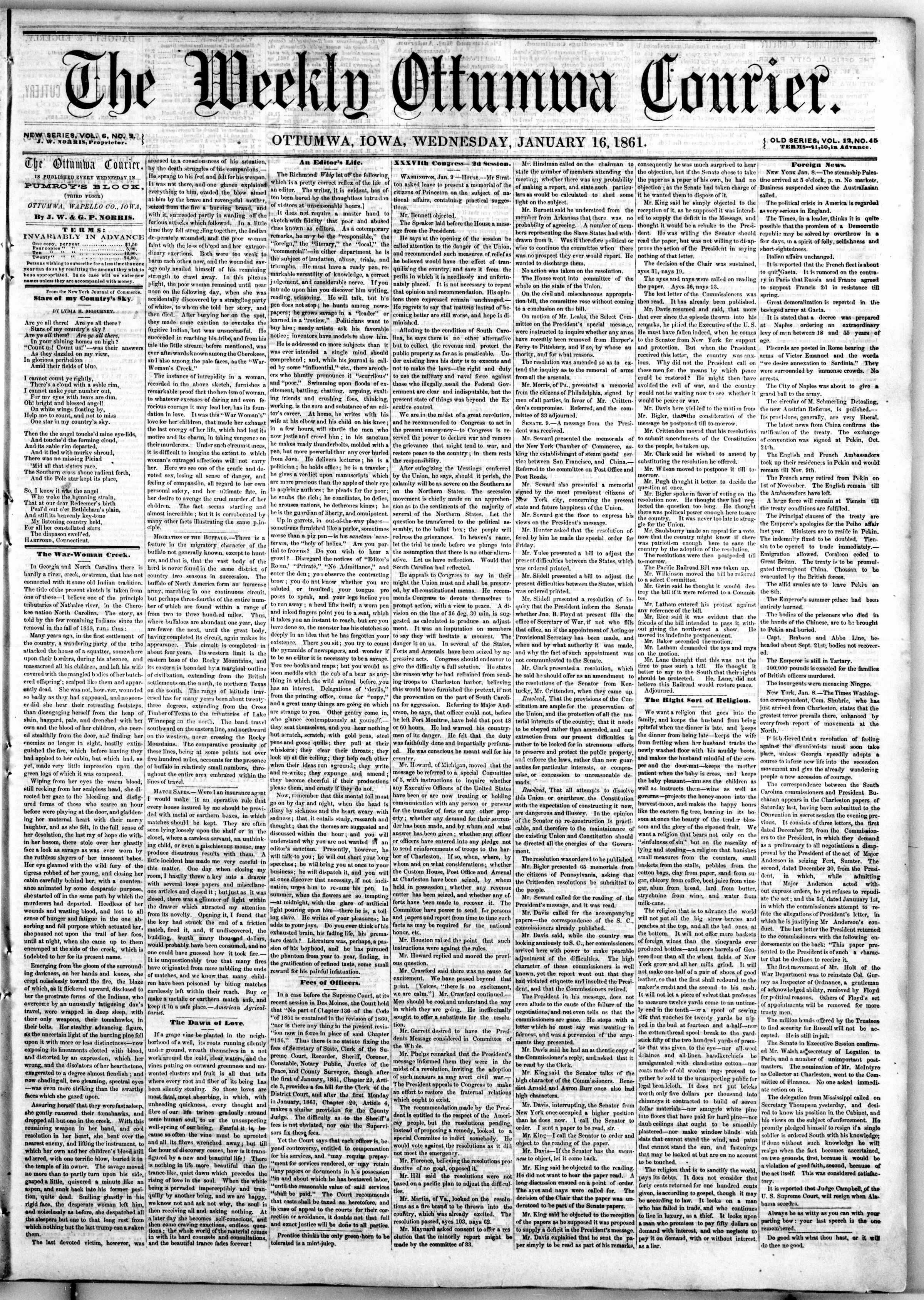 Newspaper of The Weekly Ottumwa Courier dated January 16, 1861 Page 1