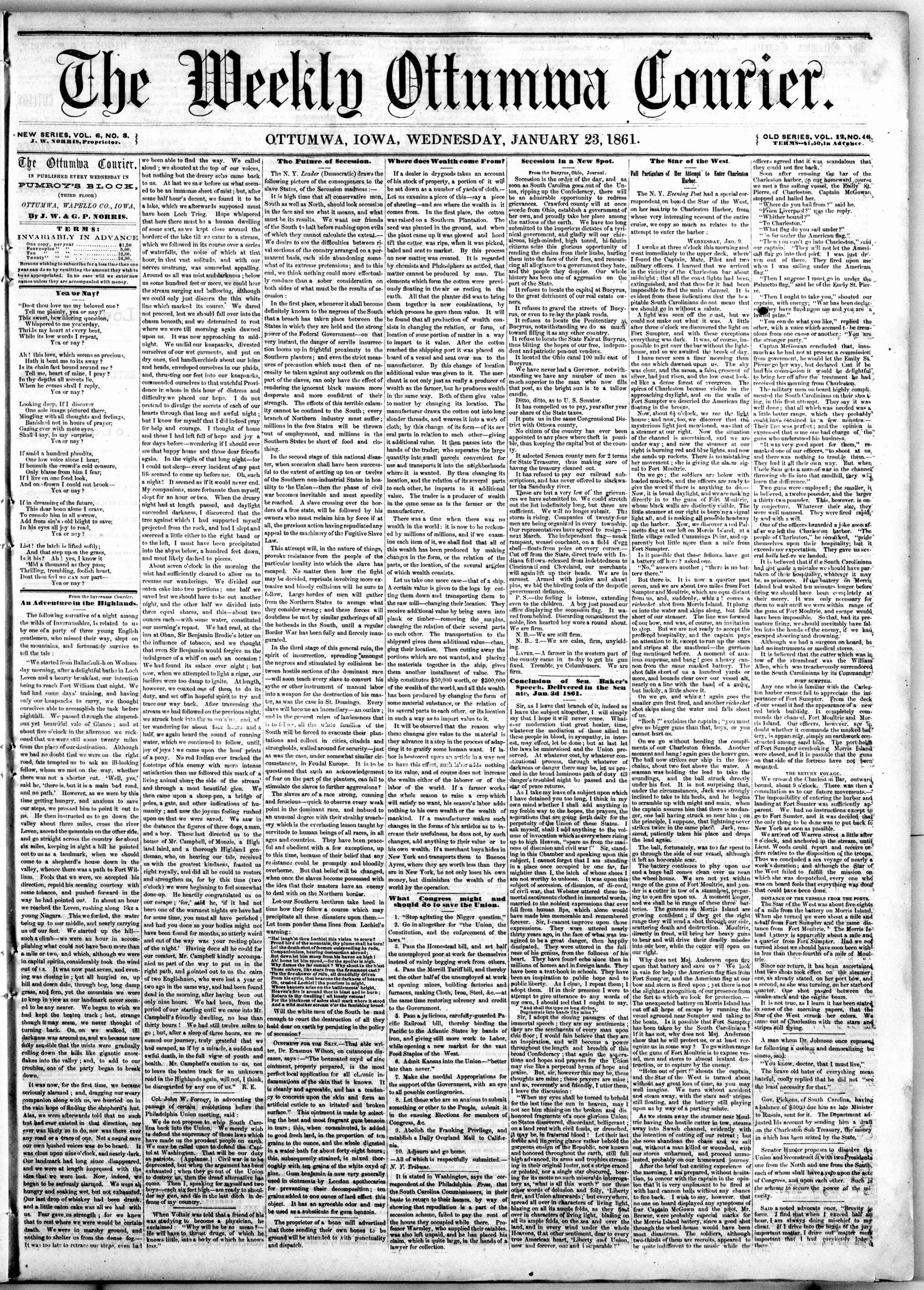 Newspaper of The Weekly Ottumwa Courier dated January 23, 1861 Page 1