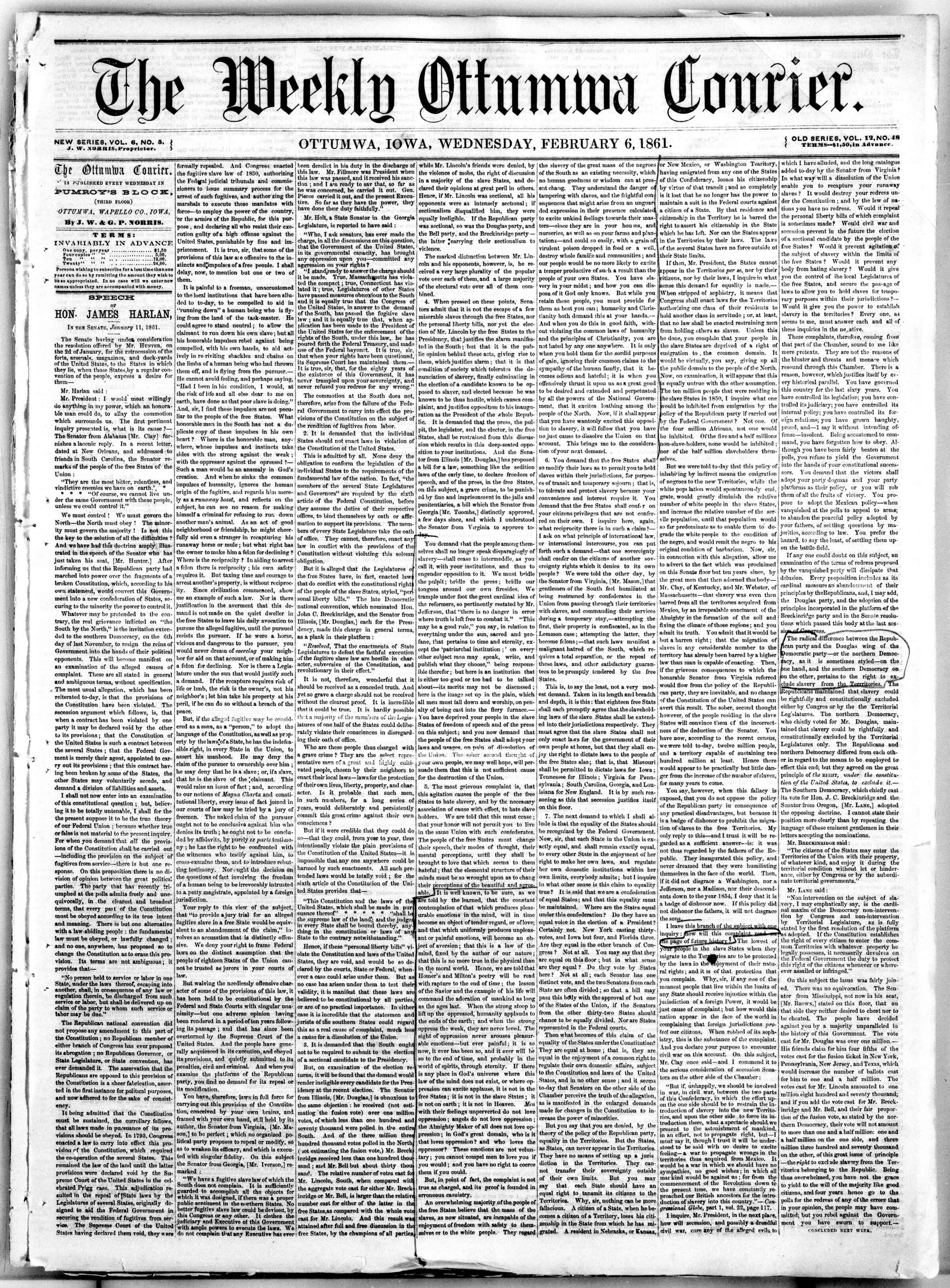 Newspaper of The Weekly Ottumwa Courier dated February 6, 1861 Page 1
