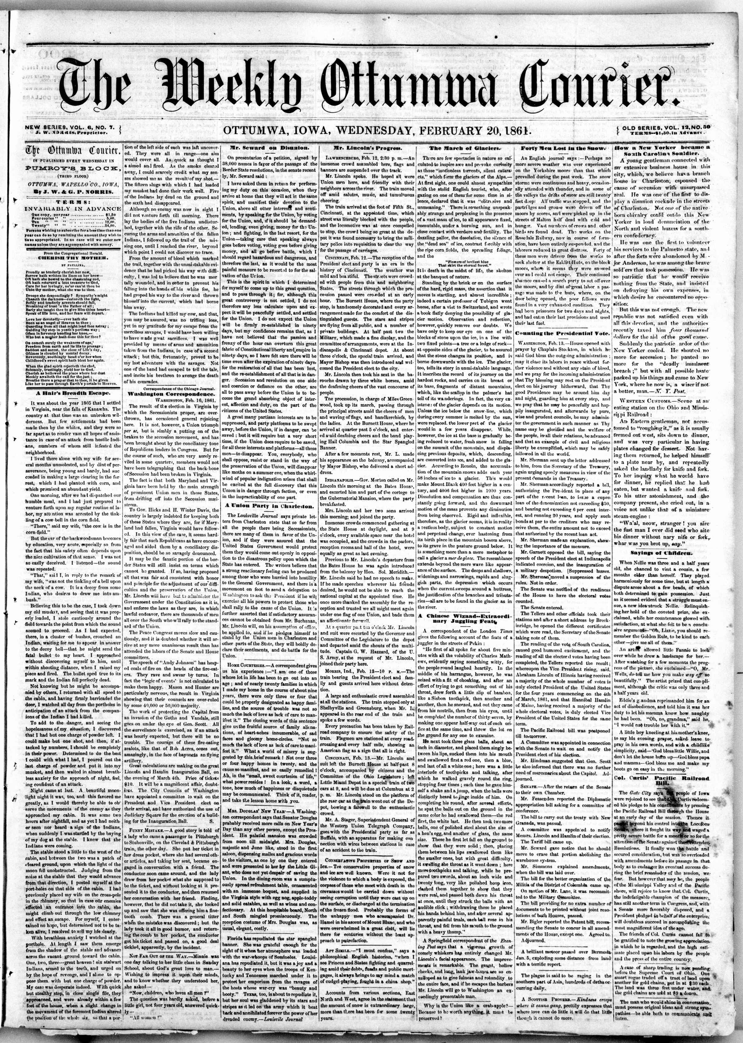 Newspaper of The Weekly Ottumwa Courier dated February 20, 1861 Page 1