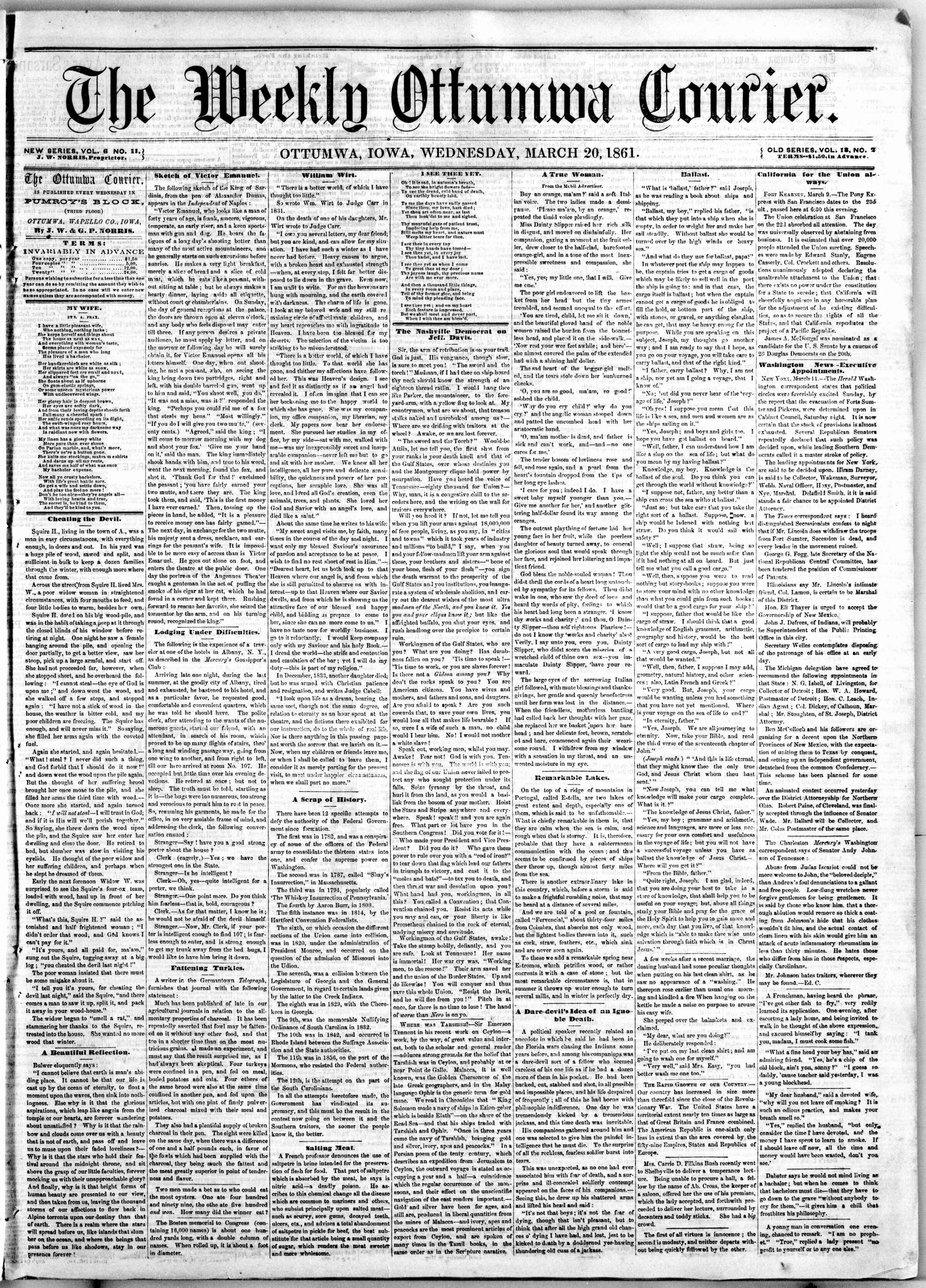 Newspaper of The Weekly Ottumwa Courier dated March 20, 1861 Page 1