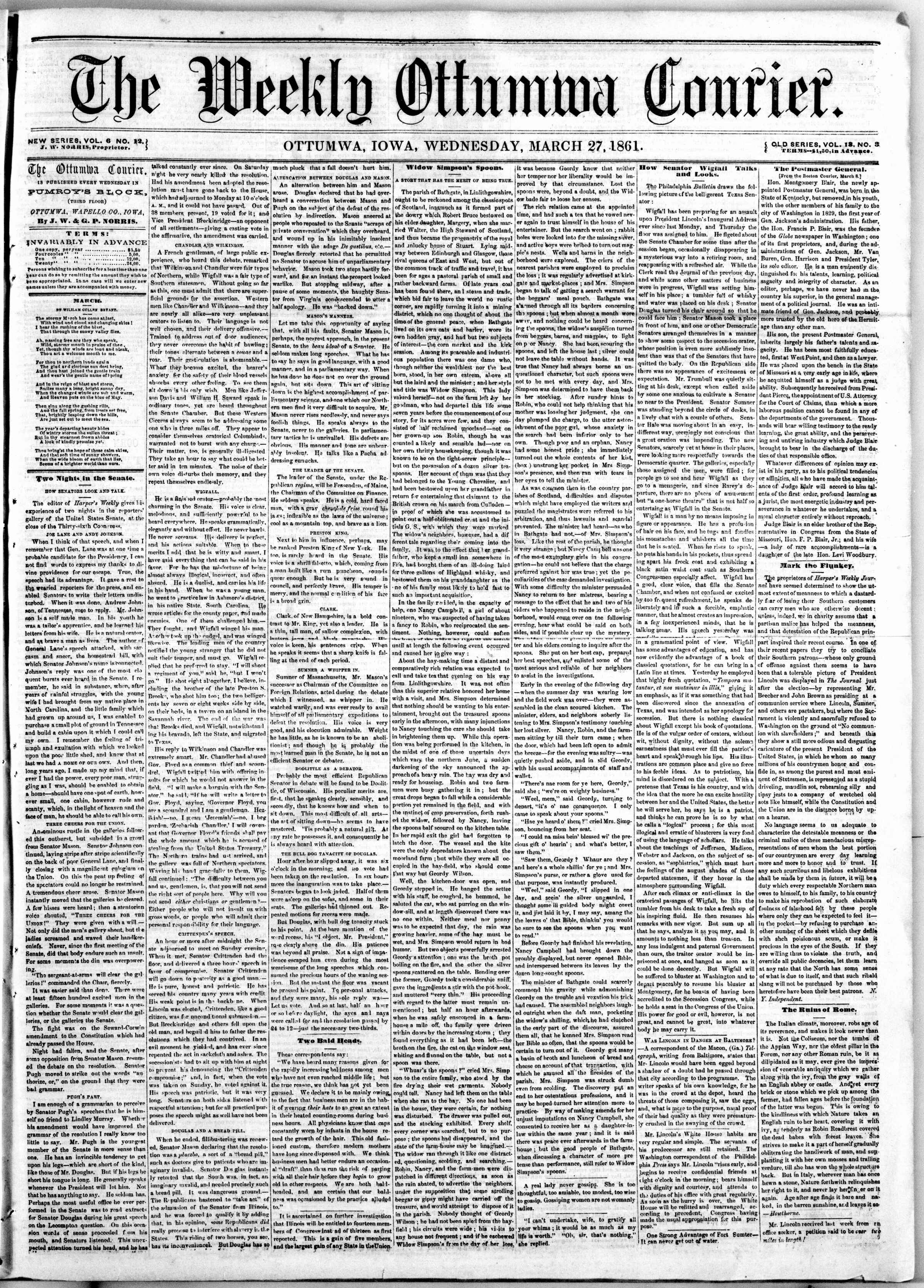 Newspaper of The Weekly Ottumwa Courier dated March 27, 1861 Page 1