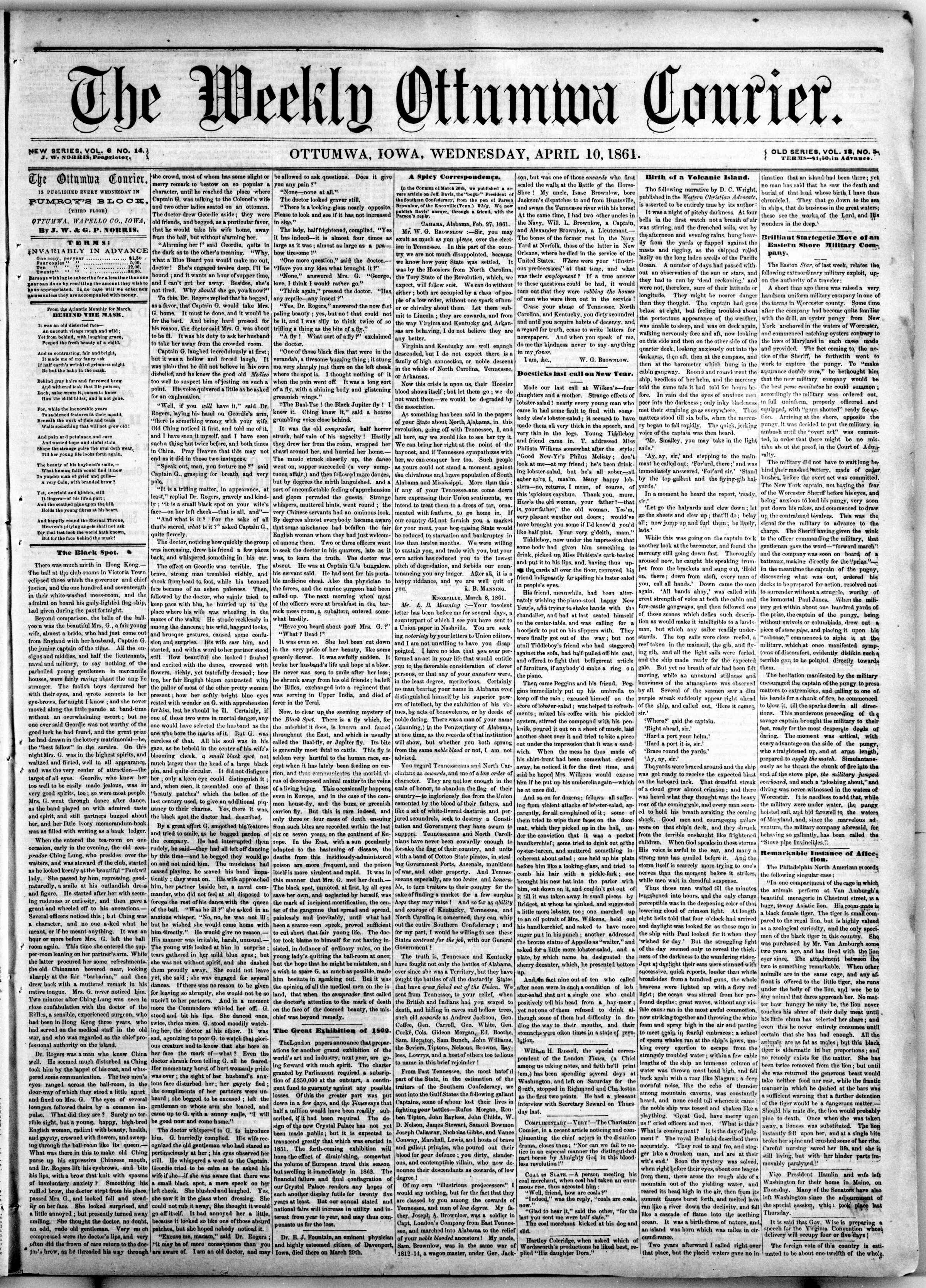 Newspaper of The Weekly Ottumwa Courier dated April 10, 1861 Page 1