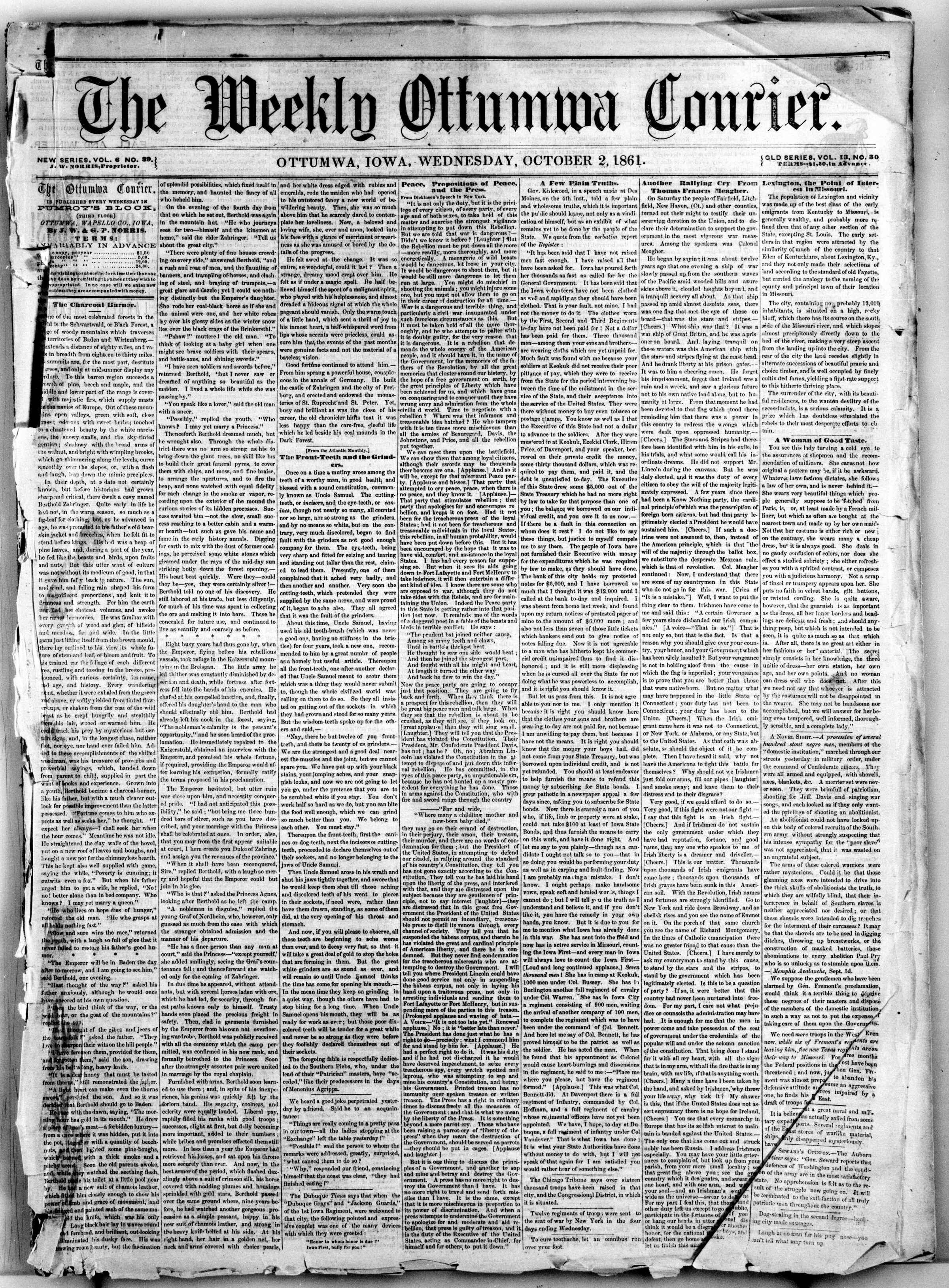 2 Ekim 1861 tarihli The Weekly Ottumwa Courier Gazetesi Sayfa 1