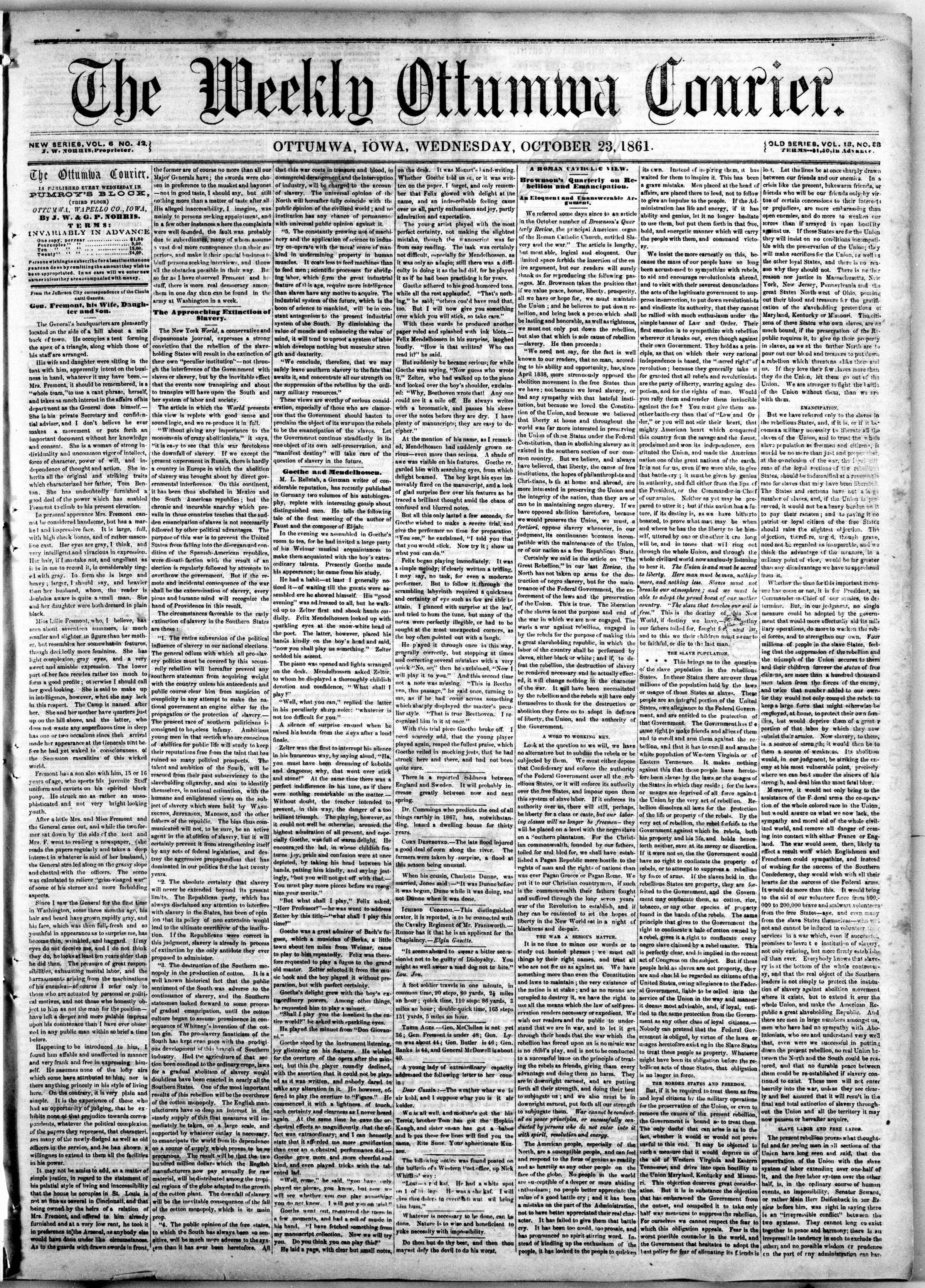 23 Ekim 1861 tarihli The Weekly Ottumwa Courier Gazetesi Sayfa 1