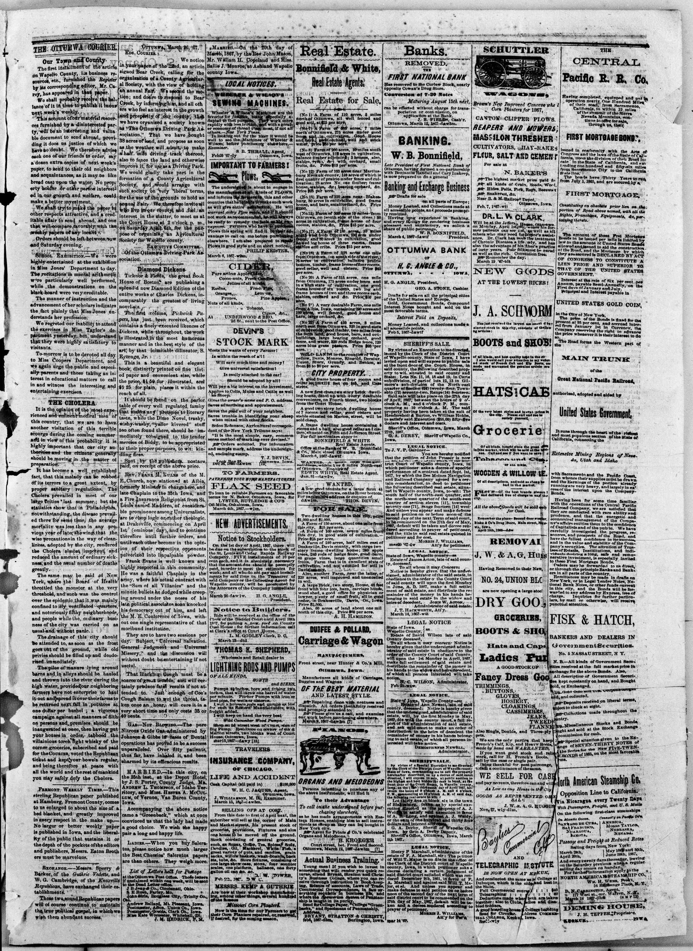 Newspaper of The Weekly Ottumwa Courier dated March 28, 1867 Page 3