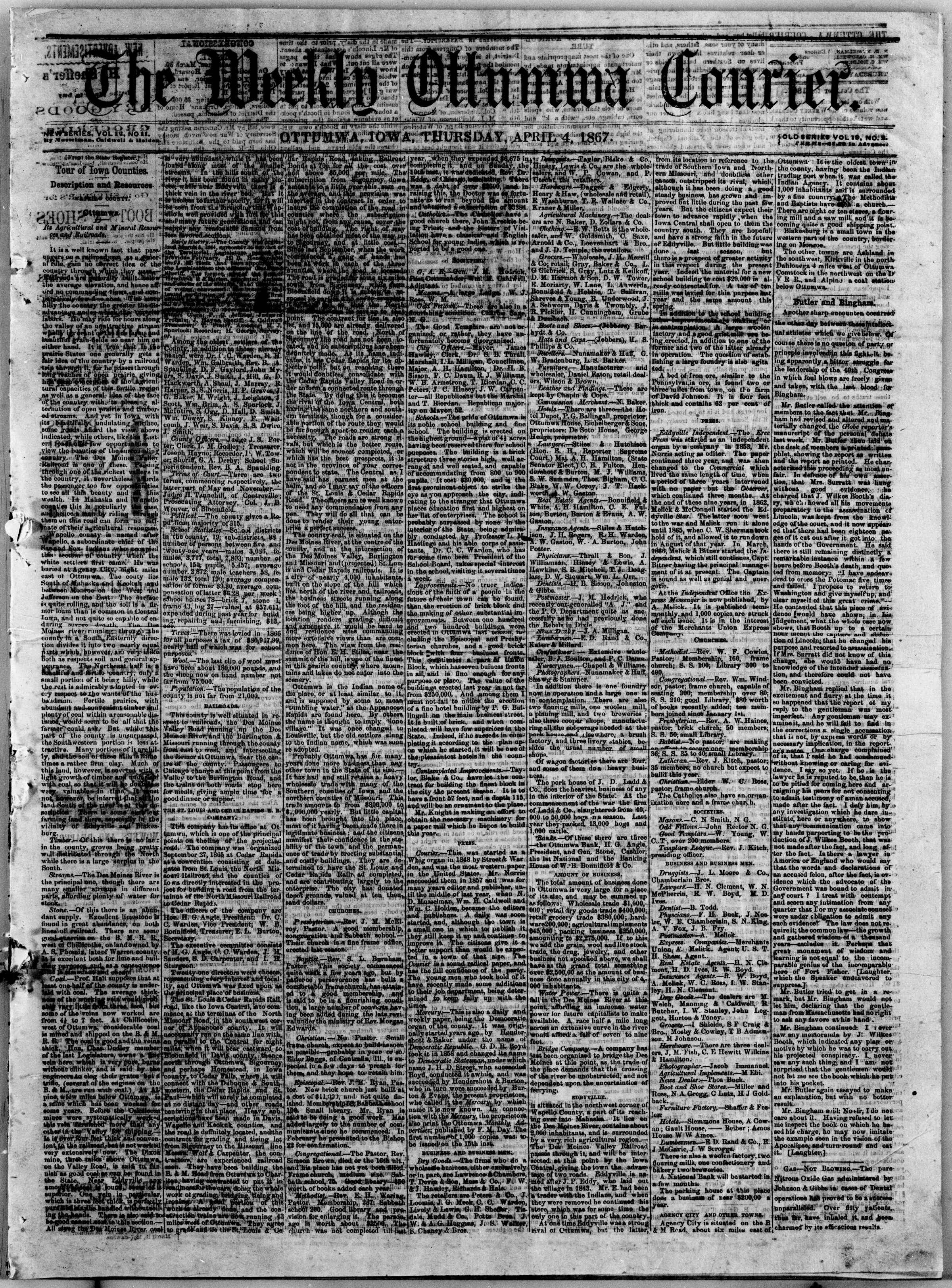 Newspaper of The Weekly Ottumwa Courier dated April 4, 1867 Page 1