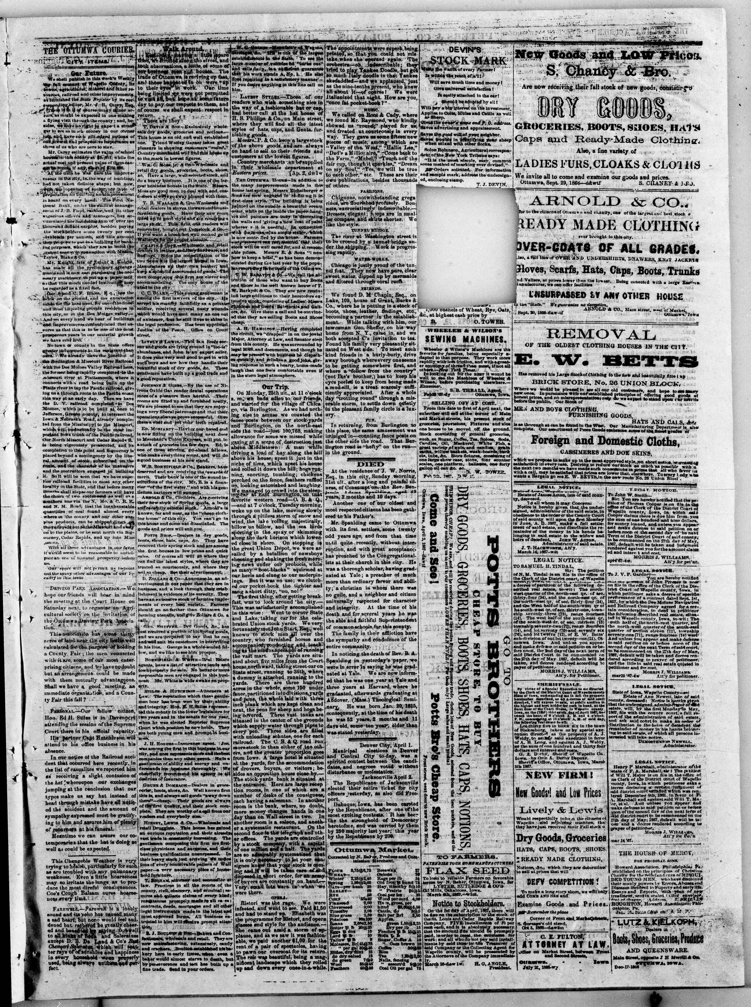 Newspaper of The Weekly Ottumwa Courier dated April 4, 1867 Page 3