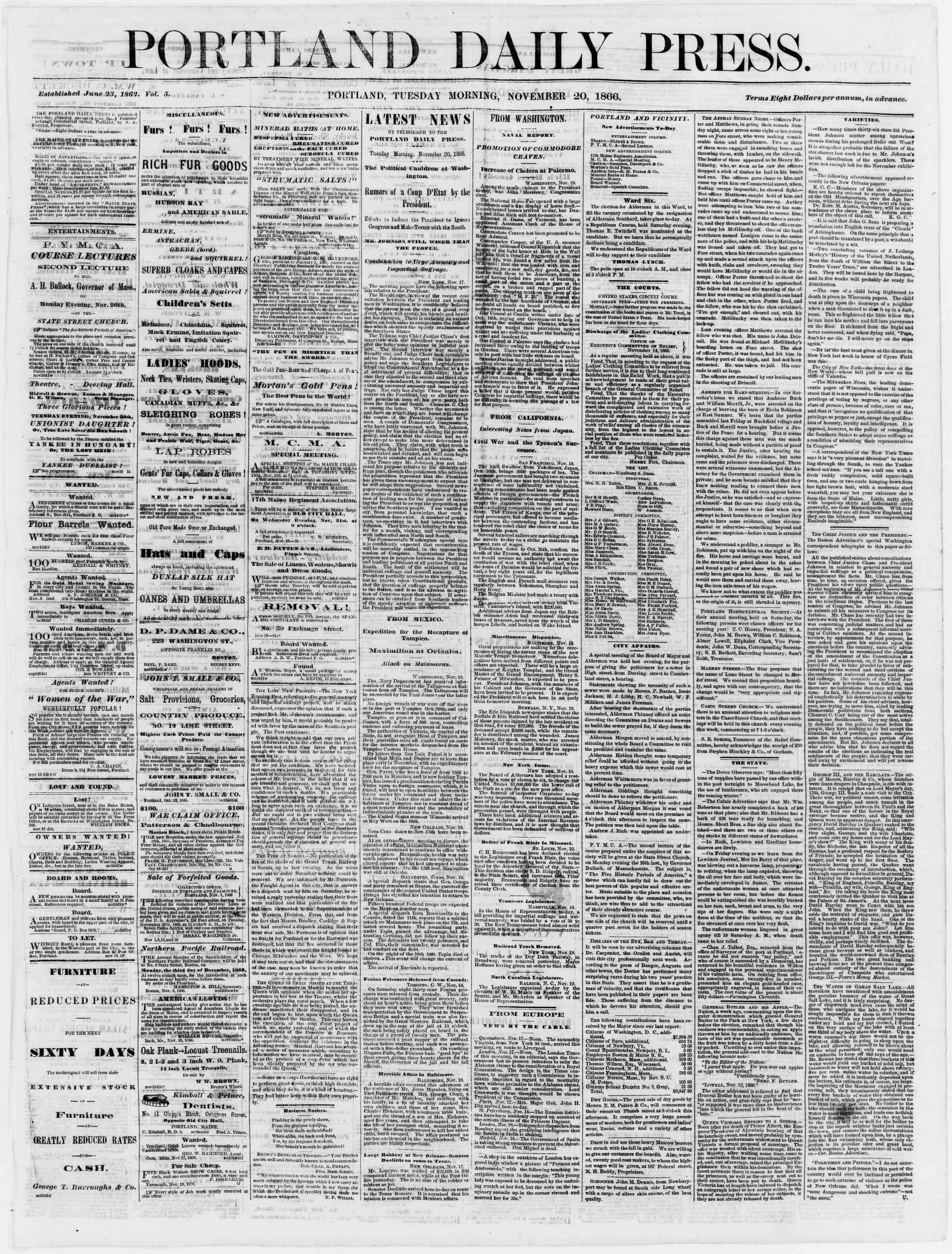 Newspaper of Portland Daily Press dated November 20, 1866 Page 1