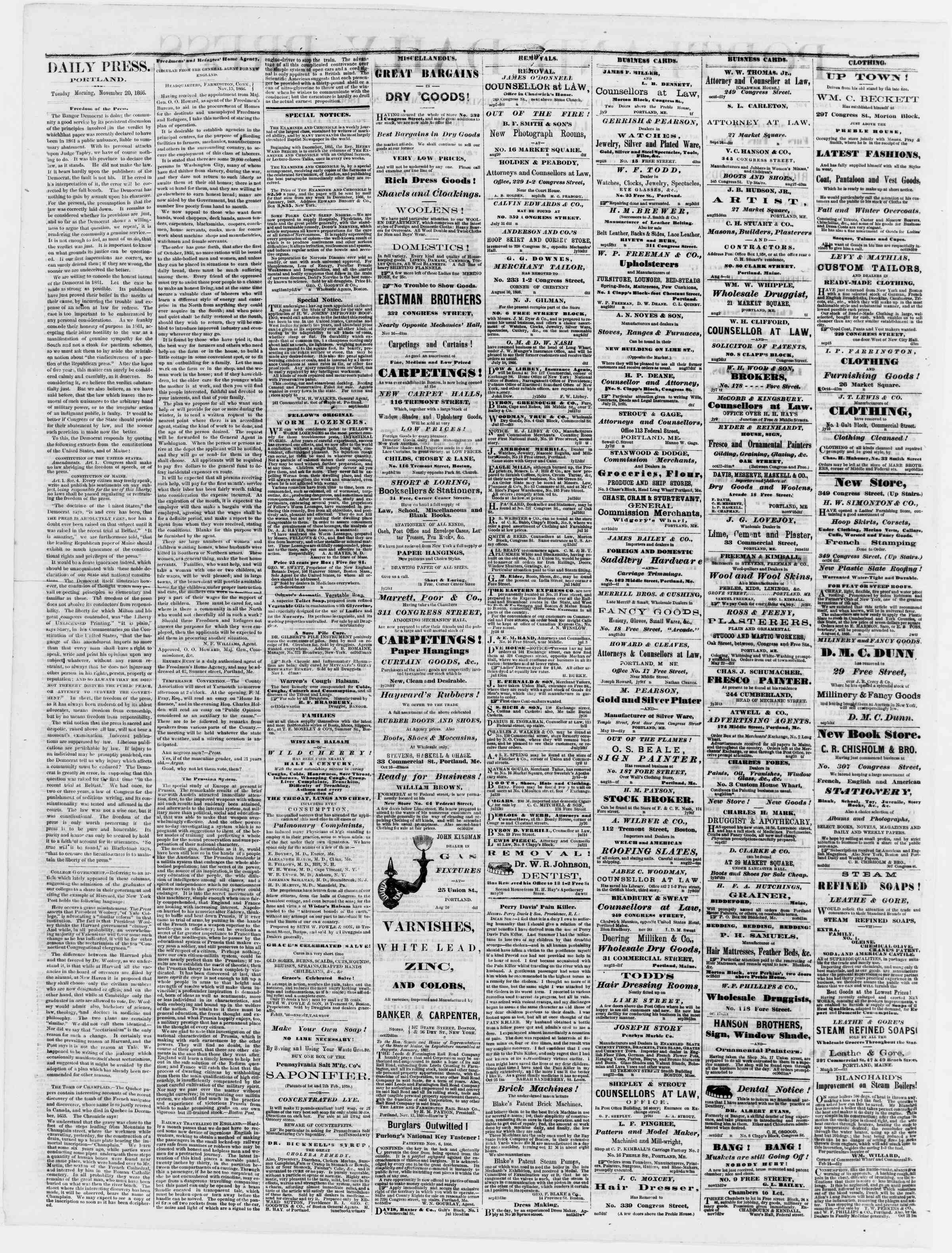 Newspaper of Portland Daily Press dated November 20, 1866 Page 2